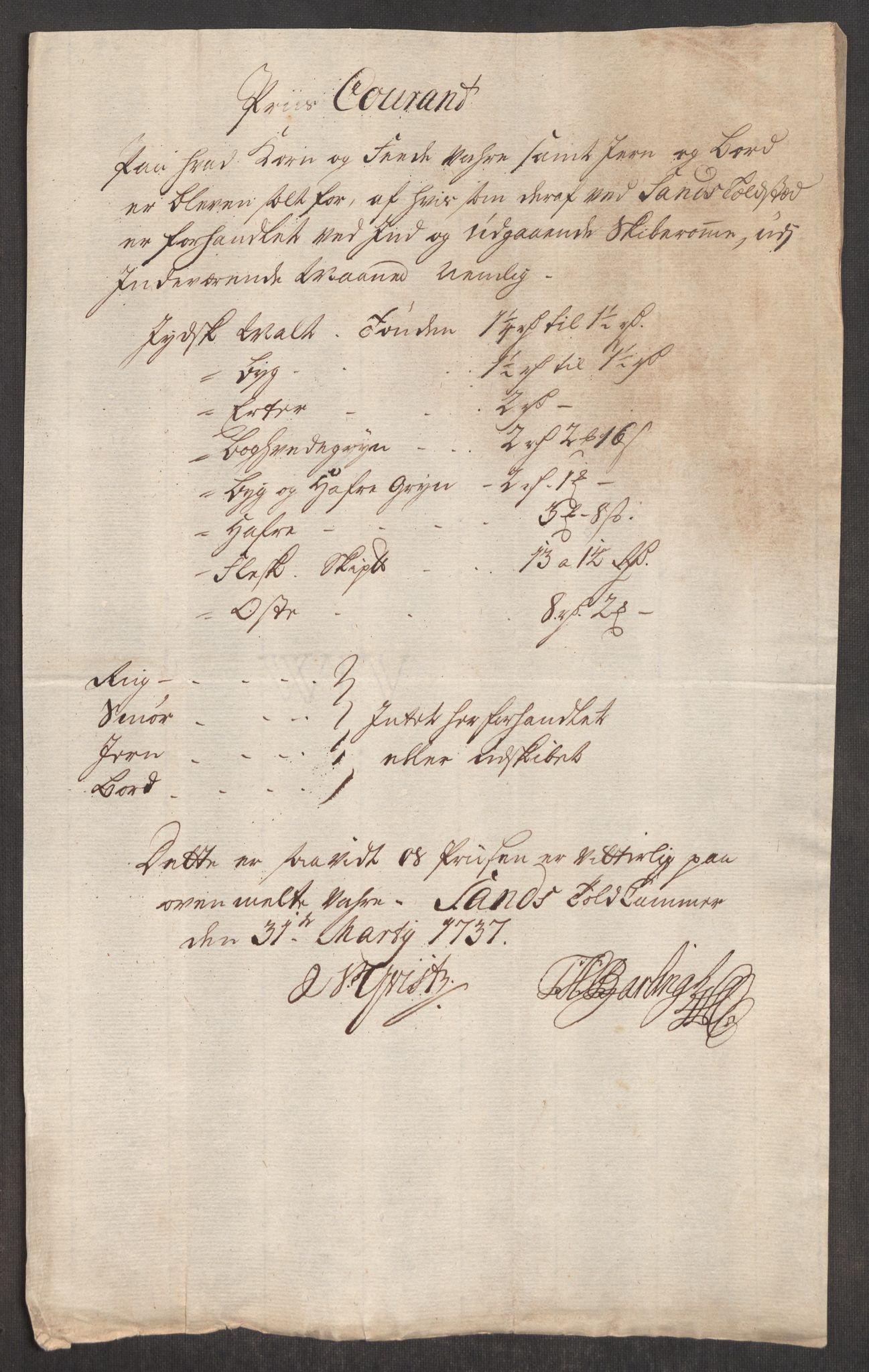 RA, Rentekammeret inntil 1814, Realistisk ordnet avdeling, Oe/L0001: [Ø1]: Priskuranter, 1712-1739, s. 488