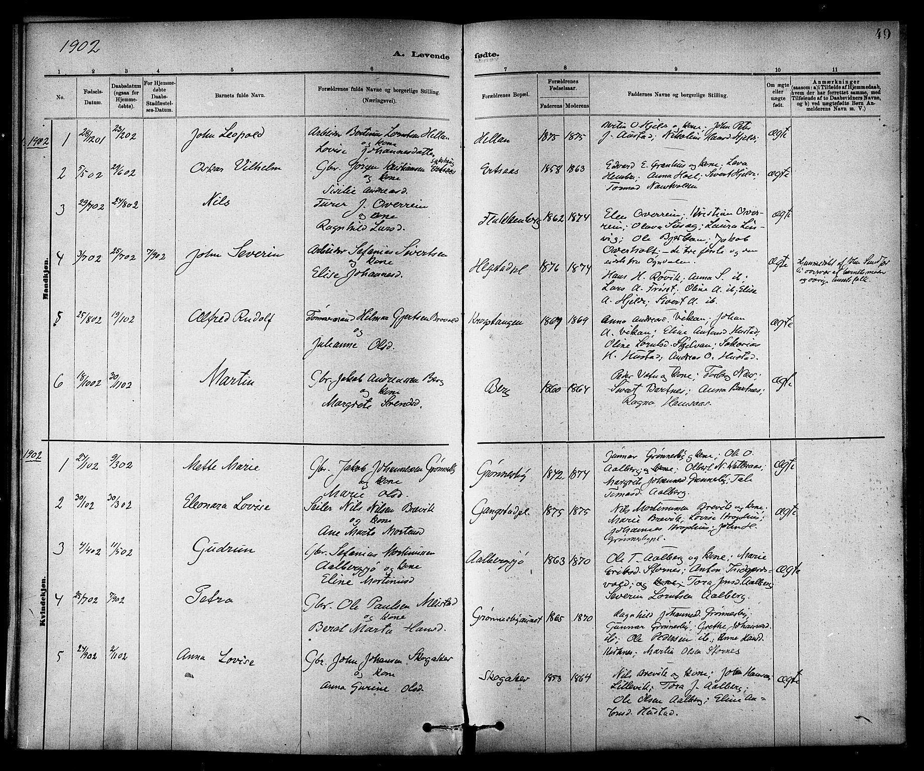 SAT, Ministerialprotokoller, klokkerbøker og fødselsregistre - Nord-Trøndelag, 732/L0318: Klokkerbok nr. 732C02, 1881-1911, s. 49