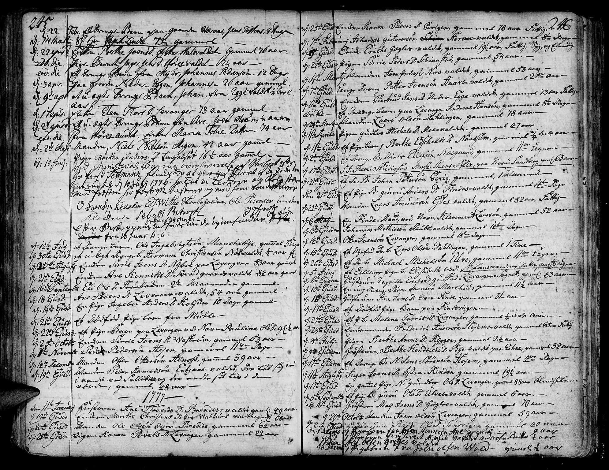 SAT, Ministerialprotokoller, klokkerbøker og fødselsregistre - Nord-Trøndelag, 717/L0141: Ministerialbok nr. 717A01, 1747-1803, s. 245-246