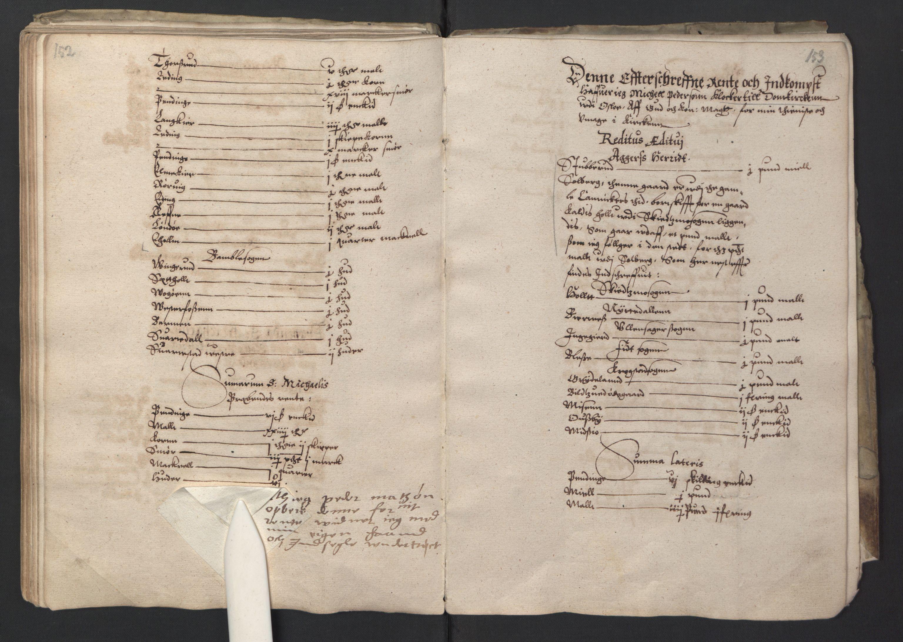 RA, Stattholderembetet 1572-1771, Ek/L0001: Jordebøker før 1624 og til utligning av garnisonsskatt 1624-1626:, 1595, s. 152-153