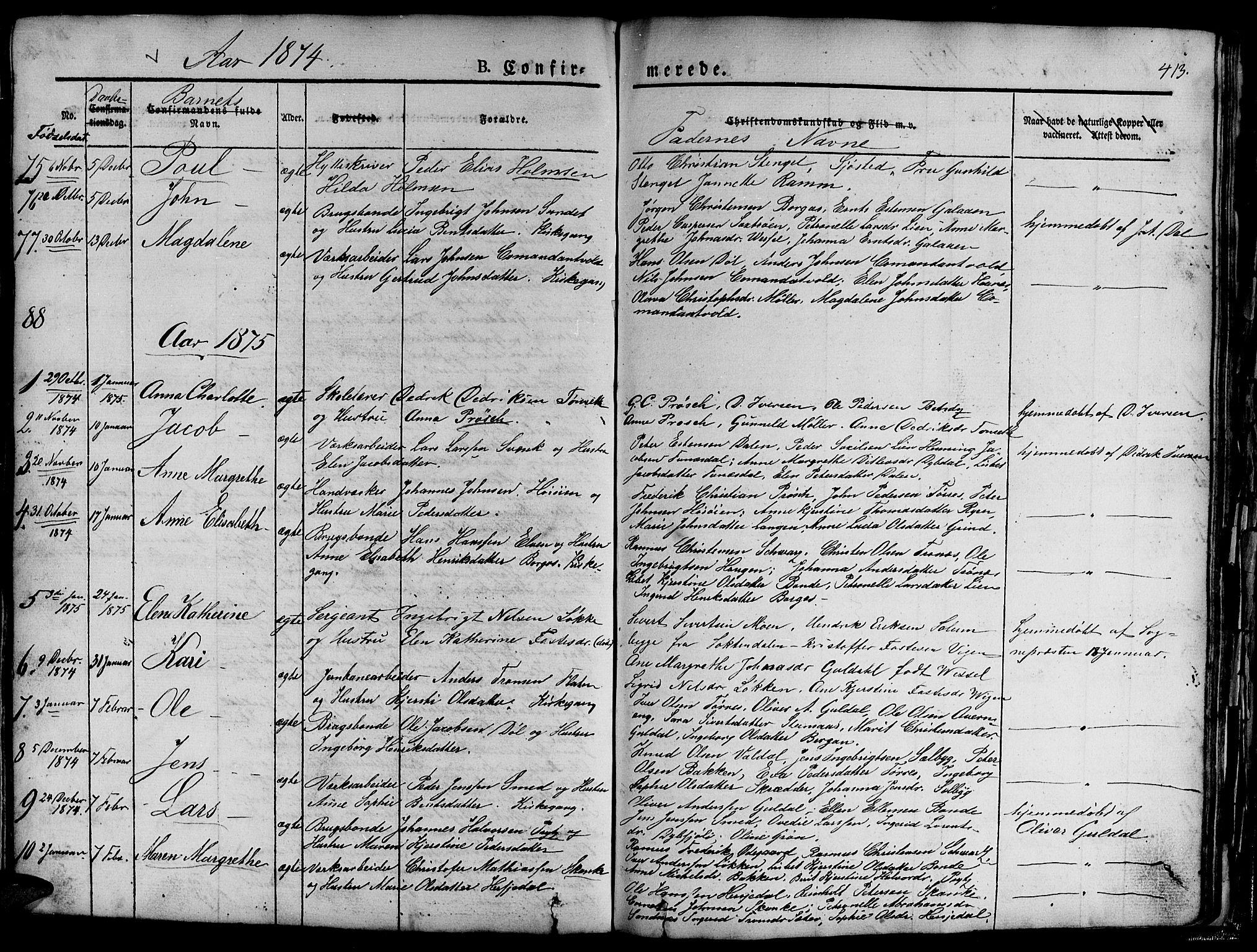 SAT, Ministerialprotokoller, klokkerbøker og fødselsregistre - Sør-Trøndelag, 681/L0938: Klokkerbok nr. 681C02, 1829-1879, s. 413