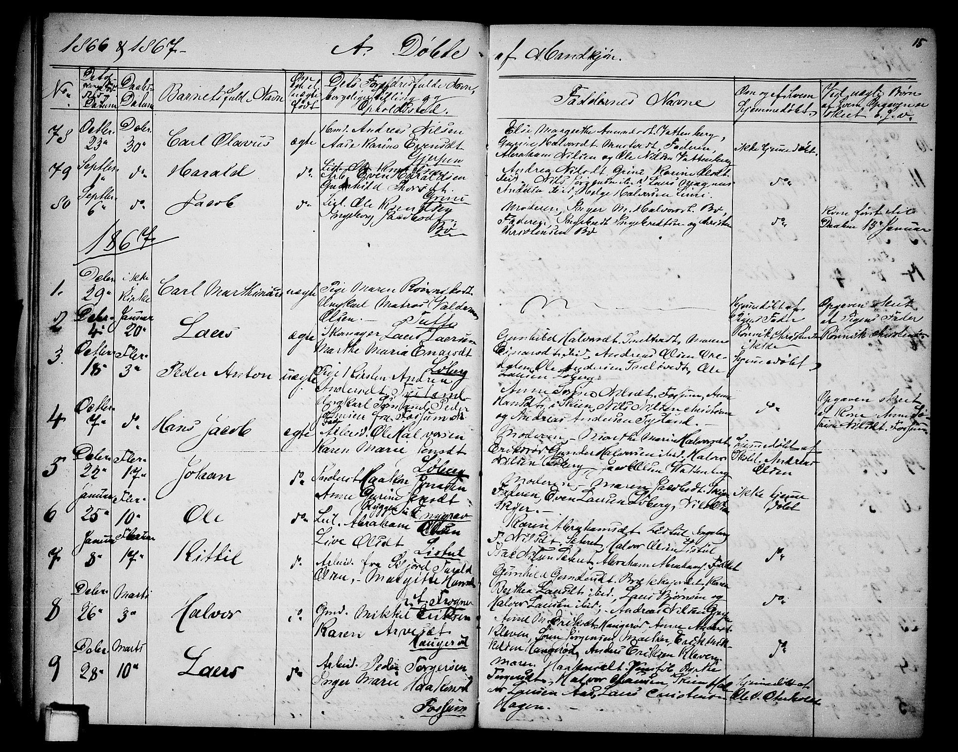 SAKO, Gjerpen kirkebøker, G/Ga/L0001: Klokkerbok nr. I 1, 1864-1882, s. 15