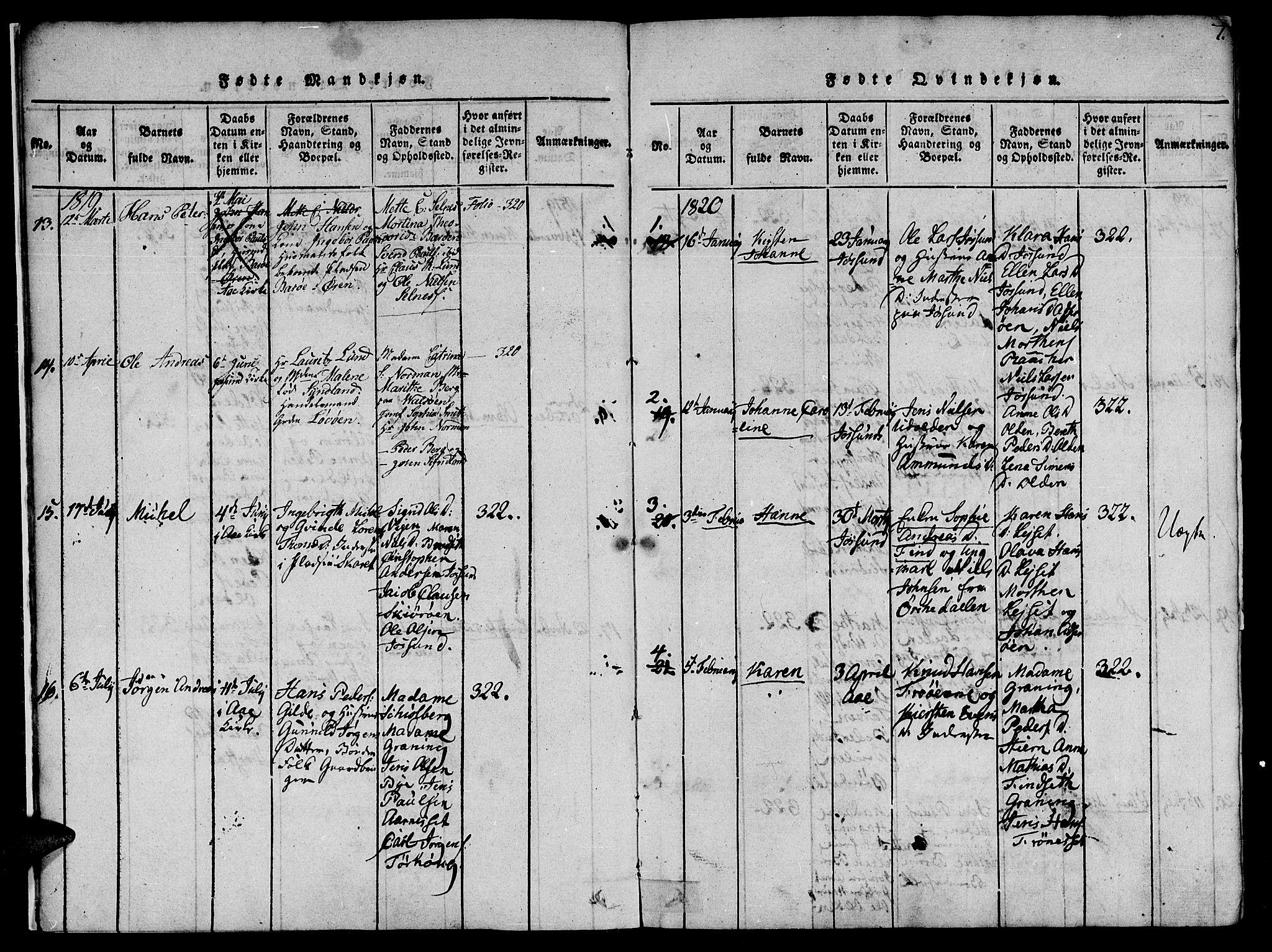 SAT, Ministerialprotokoller, klokkerbøker og fødselsregistre - Sør-Trøndelag, 655/L0675: Ministerialbok nr. 655A04, 1818-1830, s. 7