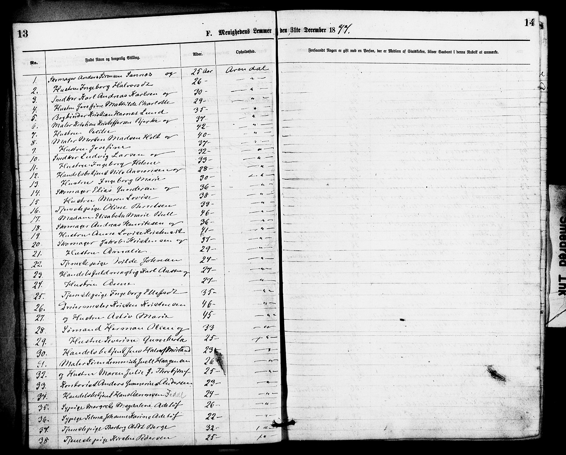 SAK, Den evangelisk-lutherske frimenighet, Arendal, F/Fa/L0001: Dissenterprotokoll nr. F 5, 1877-1883, s. 13-14