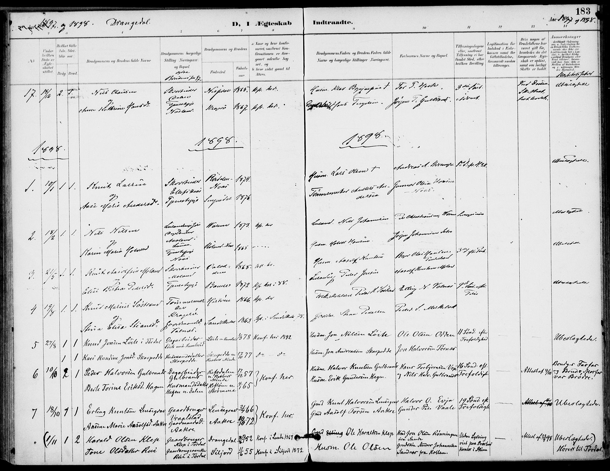 SAKO, Drangedal kirkebøker, F/Fa/L0012: Ministerialbok nr. 12, 1895-1905, s. 183