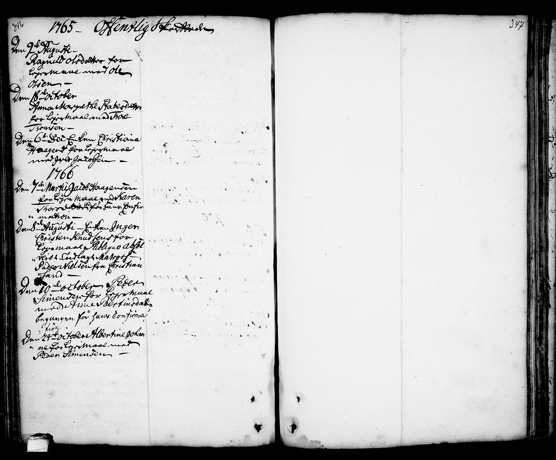SAKO, Kragerø kirkebøker, F/Fa/L0001: Ministerialbok nr. 1, 1702-1766, s. 346-347