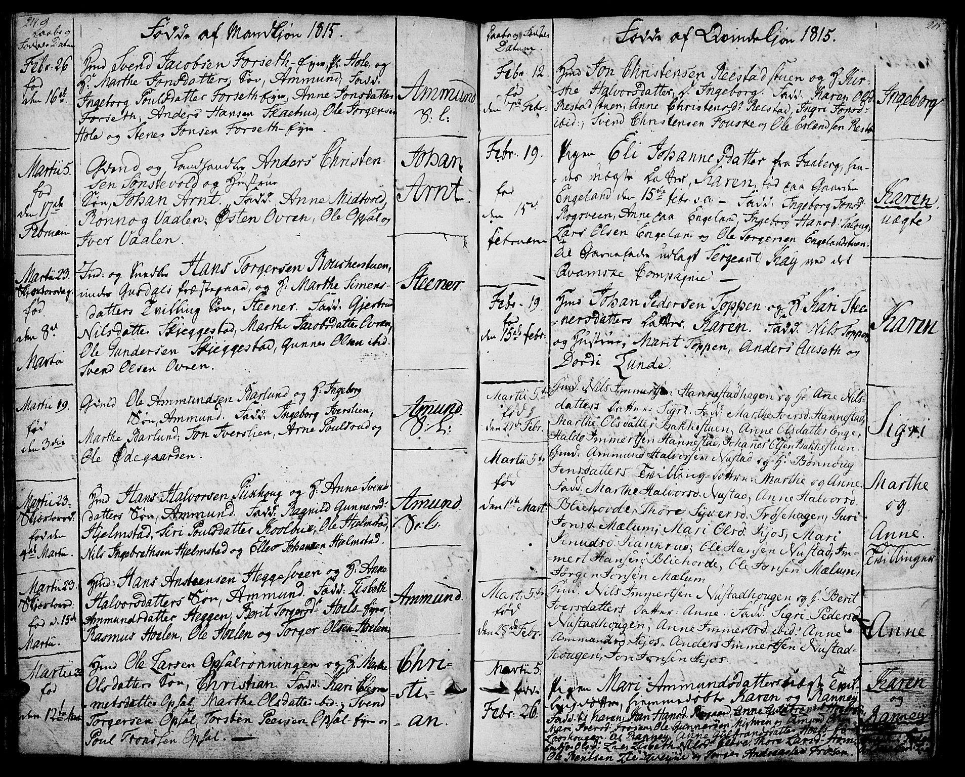 SAH, Gausdal prestekontor, Ministerialbok nr. 4, 1809-1817, s. 214-215