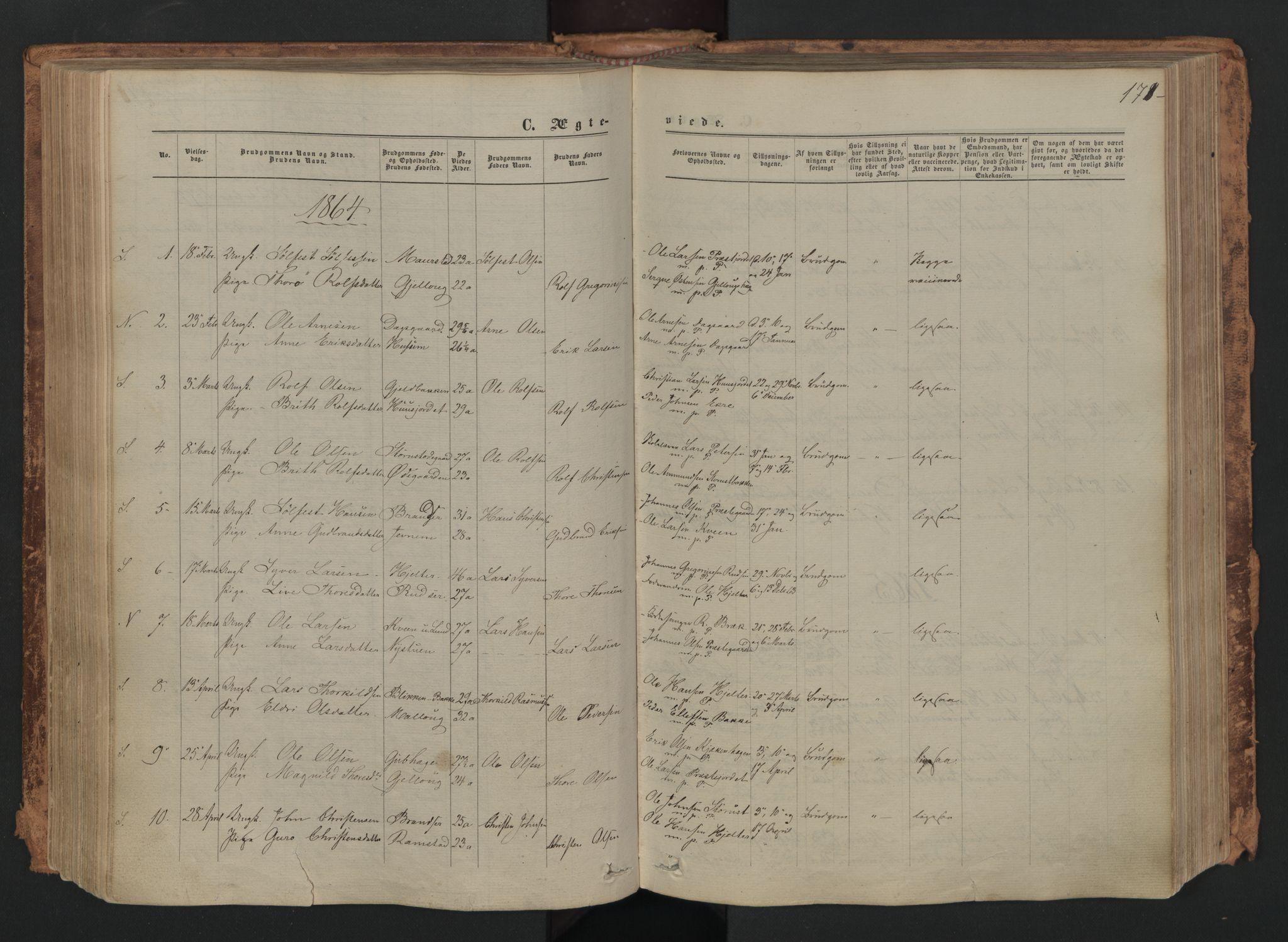 SAH, Skjåk prestekontor, Ministerialbok nr. 1, 1863-1879, s. 171