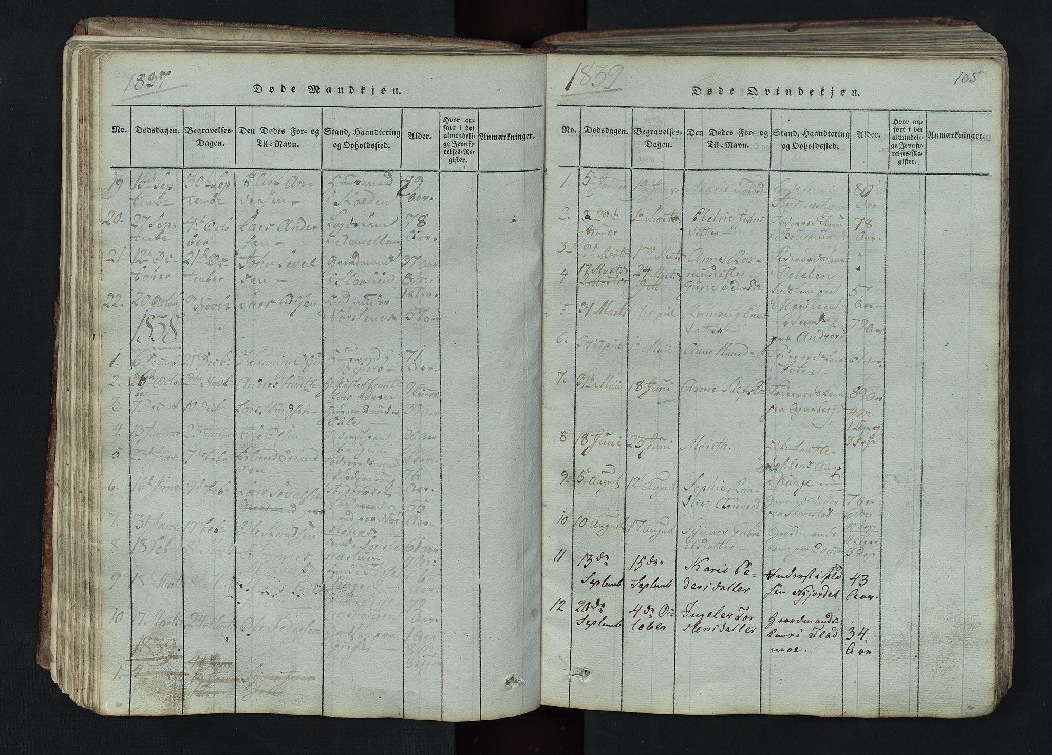 SAH, Lom prestekontor, L/L0002: Klokkerbok nr. 2, 1815-1844, s. 105