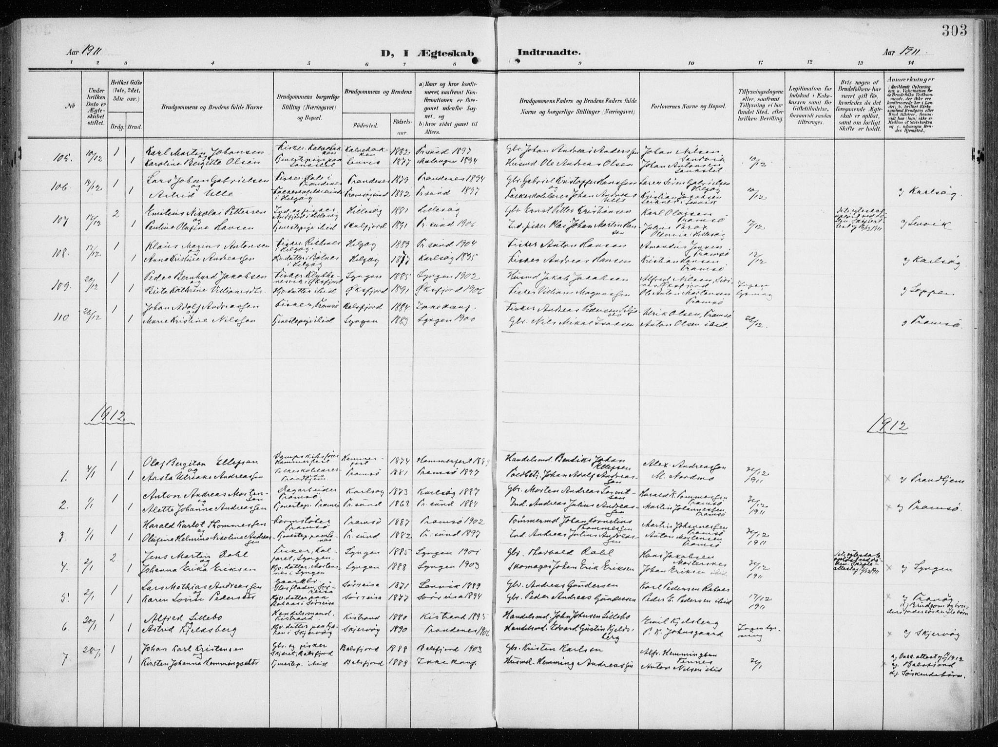 SATØ, Tromsøysund sokneprestkontor, G/Ga/L0007kirke: Ministerialbok nr. 7, 1907-1914, s. 303