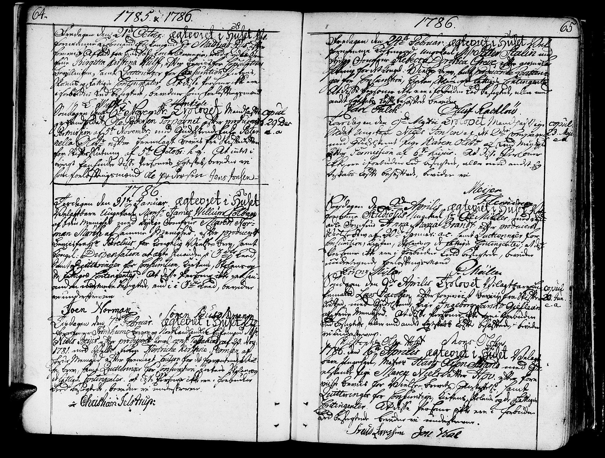 SAT, Ministerialprotokoller, klokkerbøker og fødselsregistre - Sør-Trøndelag, 602/L0105: Ministerialbok nr. 602A03, 1774-1814, s. 64-65