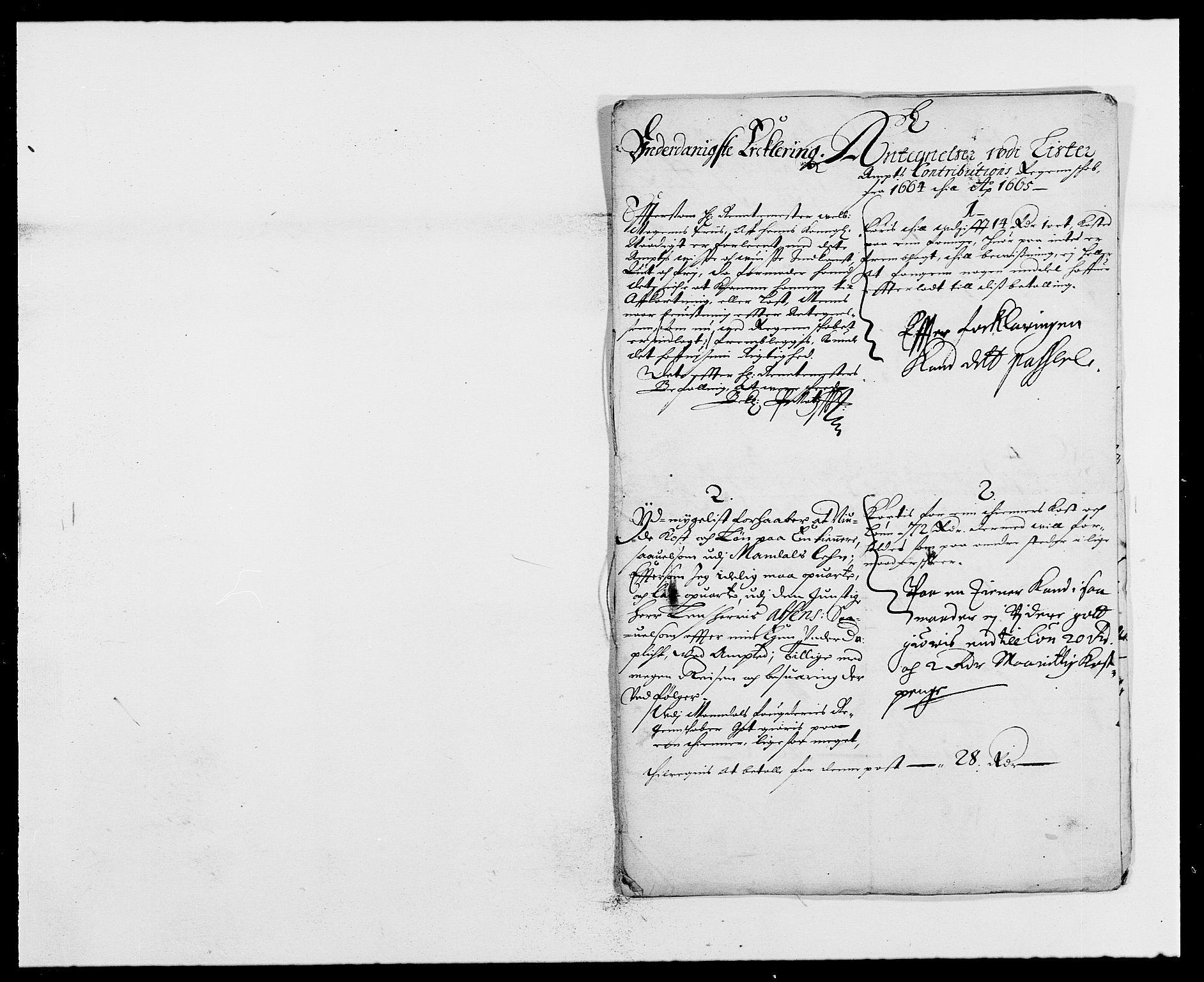 RA, Rentekammeret inntil 1814, Reviderte regnskaper, Fogderegnskap, R41/L2523: Fogderegnskap Lista, 1663-1664, s. 411