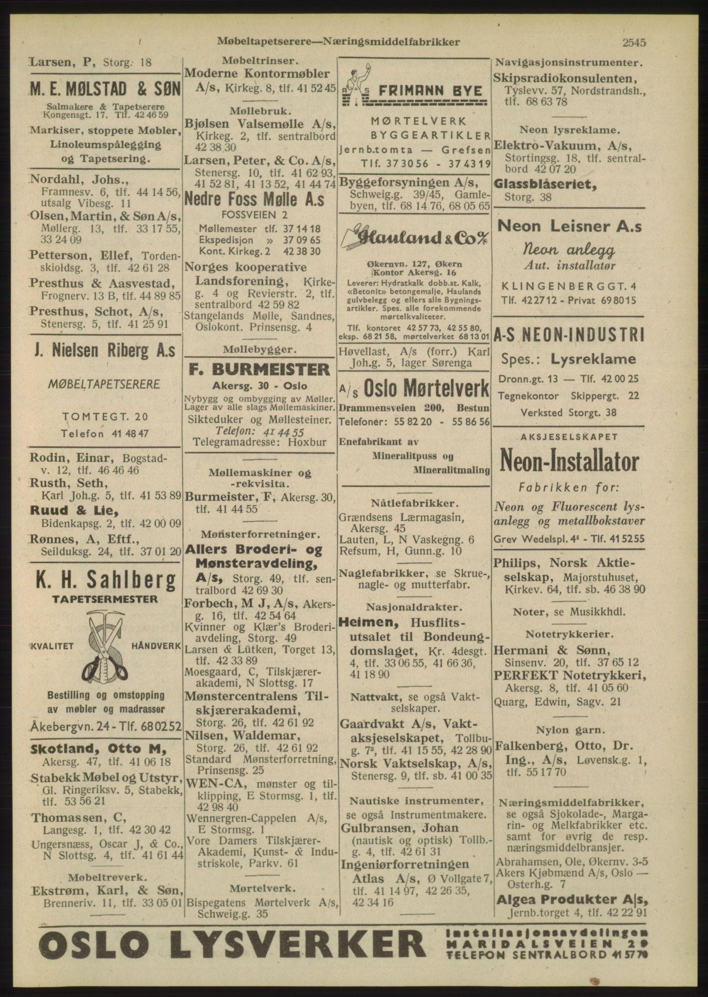 RA, Oslo adressebok (publikasjon)*, 1948, s. 2545