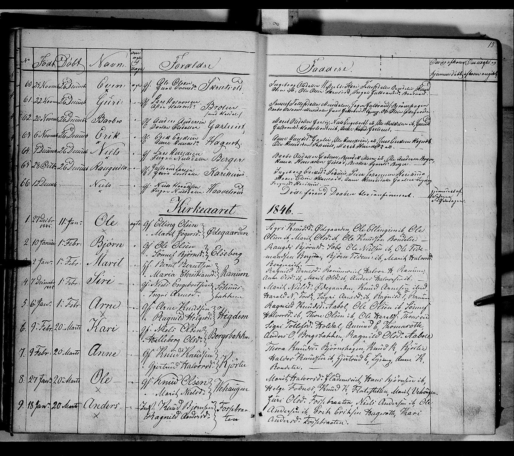 SAH, Nord-Aurdal prestekontor, Ministerialbok nr. 7, 1842-1863, s. 15