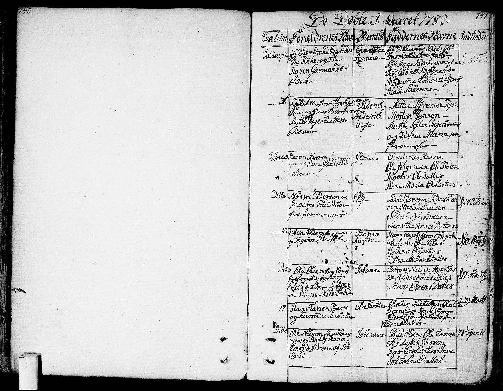 SAKO, Bragernes kirkebøker, F/Fa/L0006a: Ministerialbok nr. I 6, 1782-1814, s. 140-141