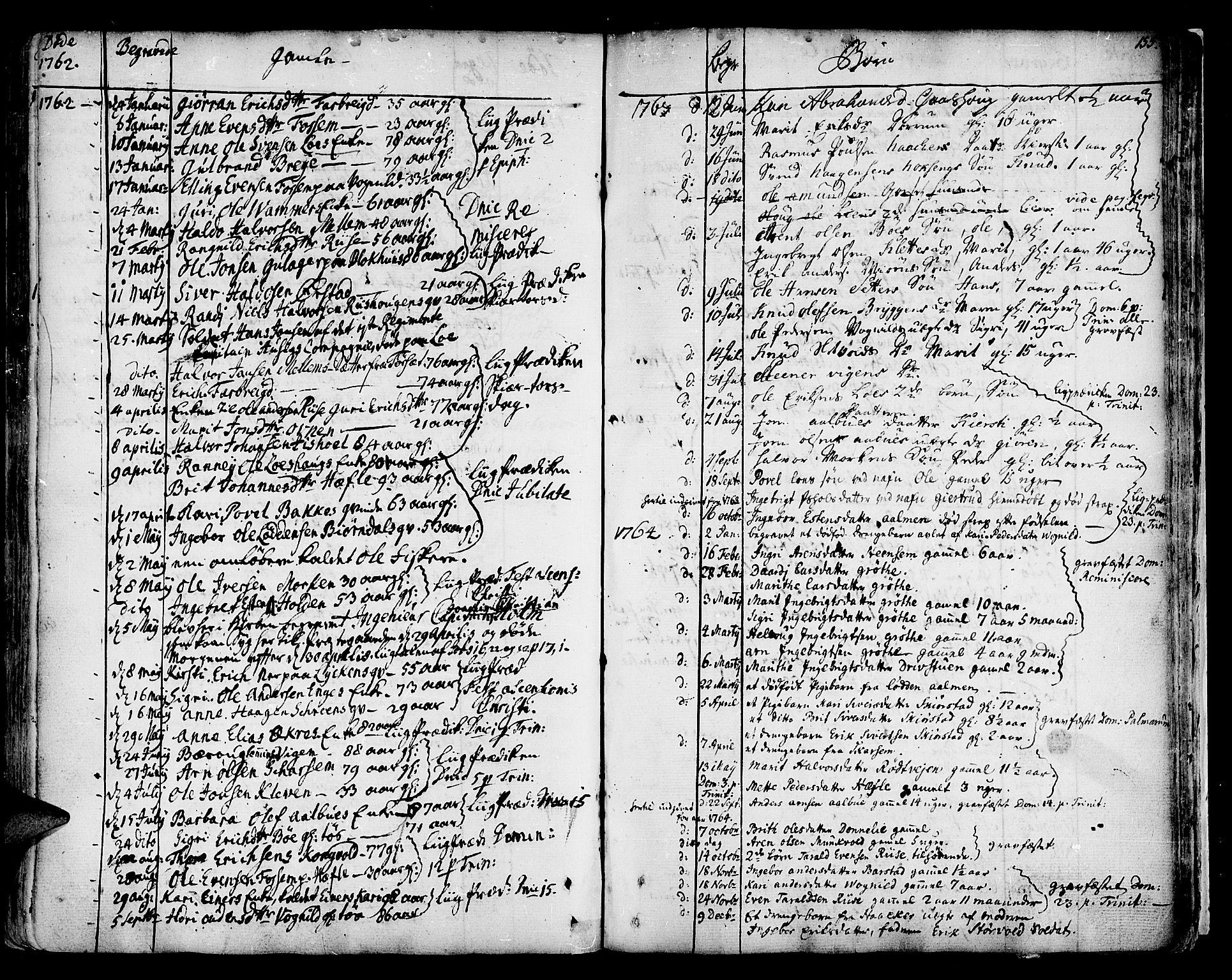 SAT, Ministerialprotokoller, klokkerbøker og fødselsregistre - Sør-Trøndelag, 678/L0891: Ministerialbok nr. 678A01, 1739-1780, s. 155