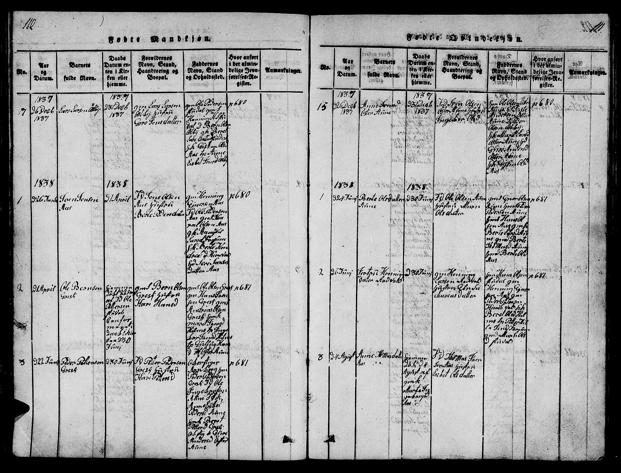 SAT, Ministerialprotokoller, klokkerbøker og fødselsregistre - Sør-Trøndelag, 698/L1164: Klokkerbok nr. 698C01, 1816-1861, s. 110-111