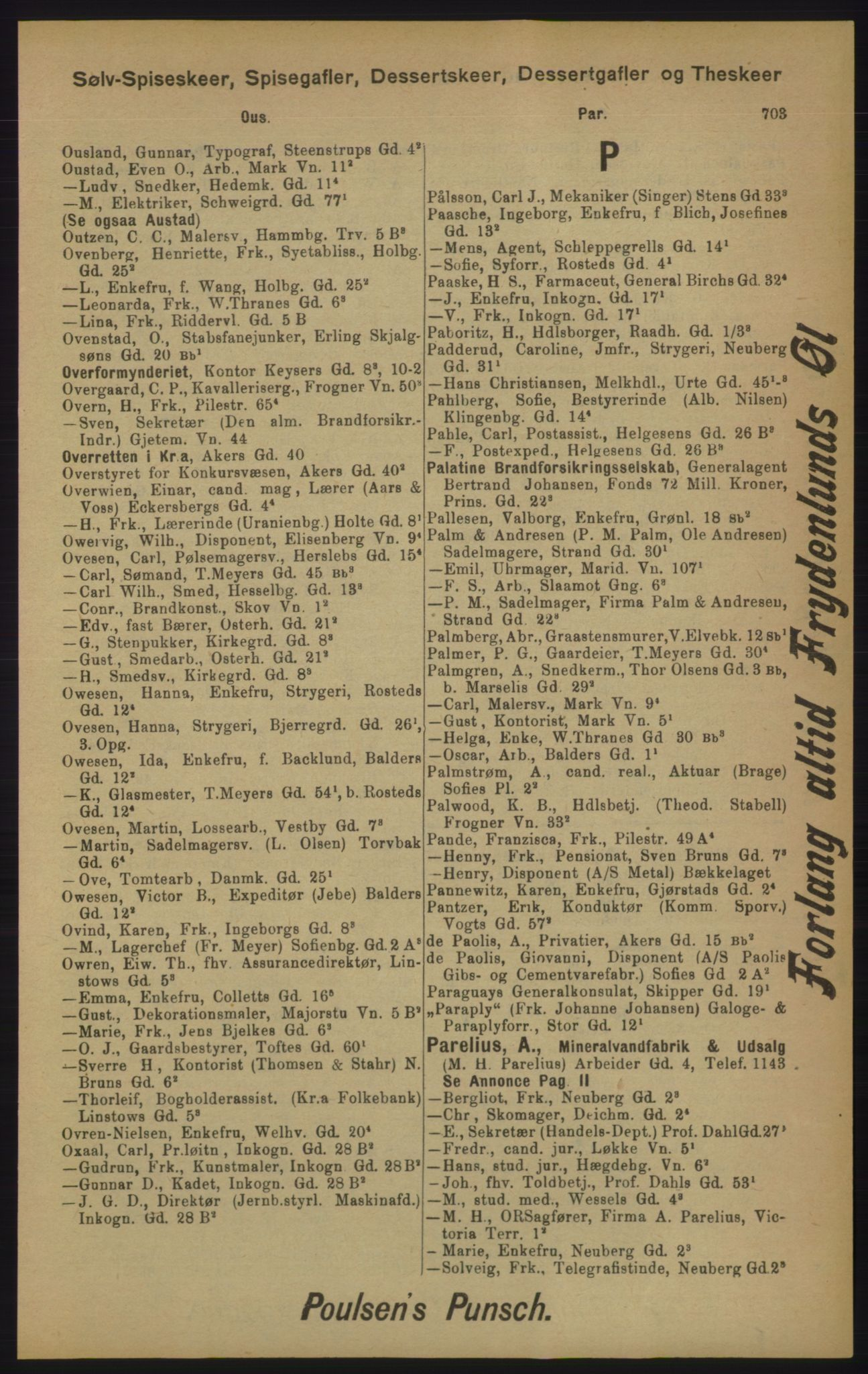 RA, Kristiania adressebok (publikasjon)*, 1905, s. 703