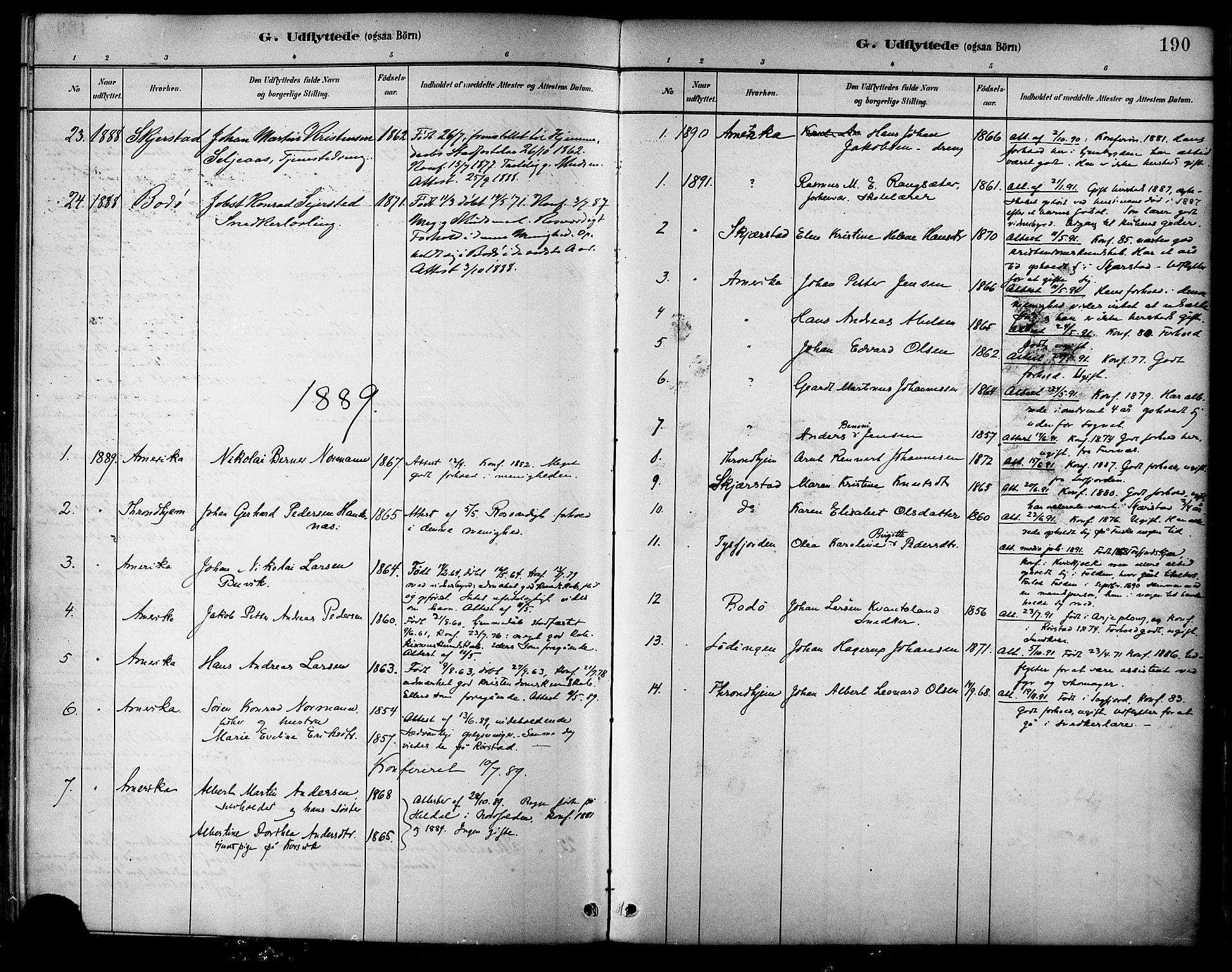 SAT, Ministerialprotokoller, klokkerbøker og fødselsregistre - Nordland, 854/L0777: Ministerialbok nr. 854A01 /1, 1883-1891, s. 190