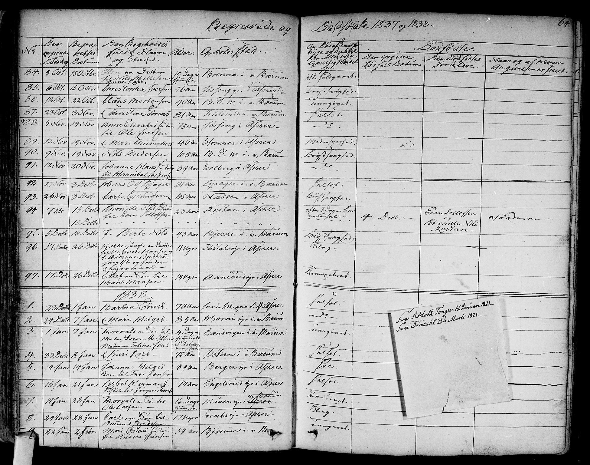SAO, Asker prestekontor Kirkebøker, F/Fa/L0011: Ministerialbok nr. I 11, 1825-1878, s. 64
