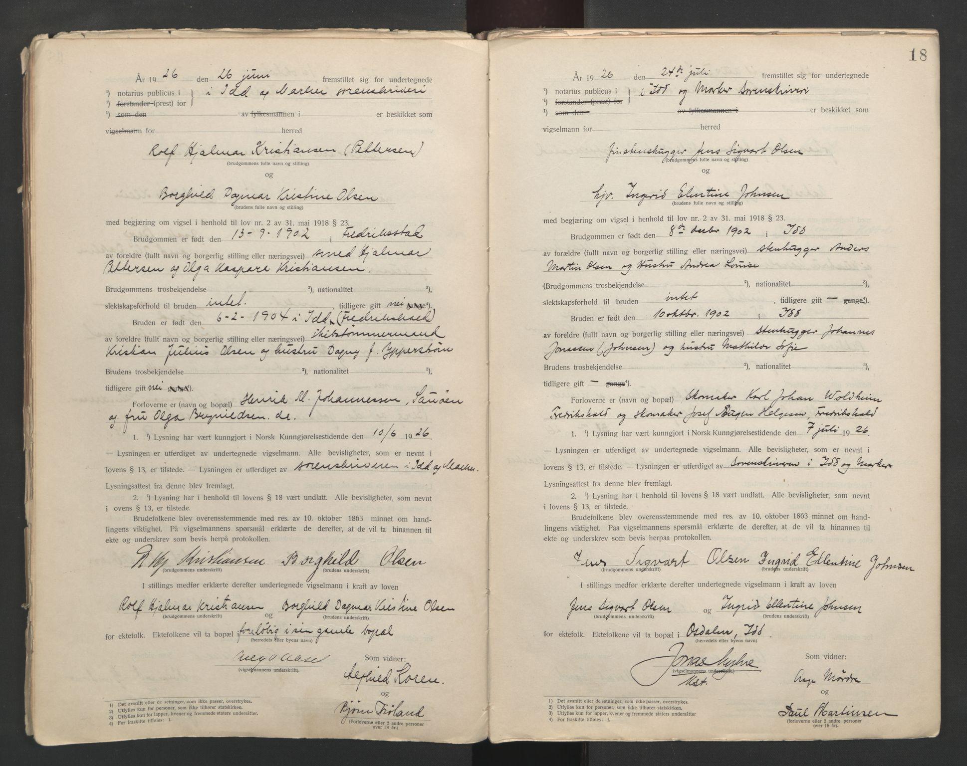 SAO, Idd og Marker sorenskriveri, L/Lc/L0001: Vigselsbøker, 1920-1942, s. 18