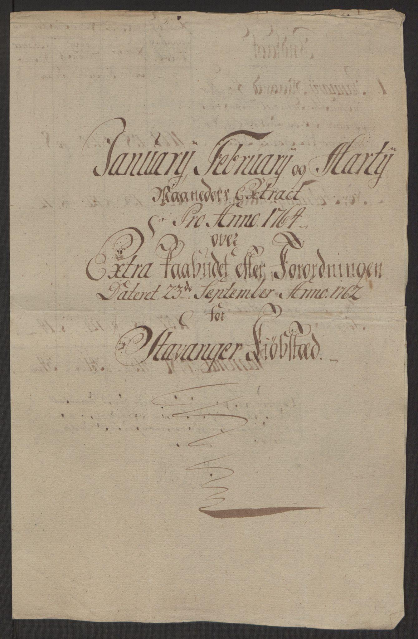 RA, Rentekammeret inntil 1814, Reviderte regnskaper, Byregnskaper, R/Ro/L0305: [O6] Kontribusjonsregnskap, 1762-1768, s. 66