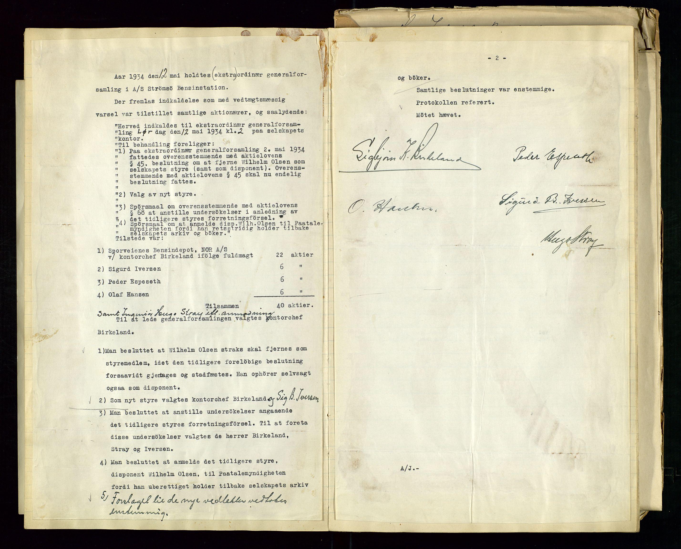 SAST, PA 1517 - A/S Strømsø Bensinstasjon, A/L0001: Referatprotokoll, 1933-1938, s. 11