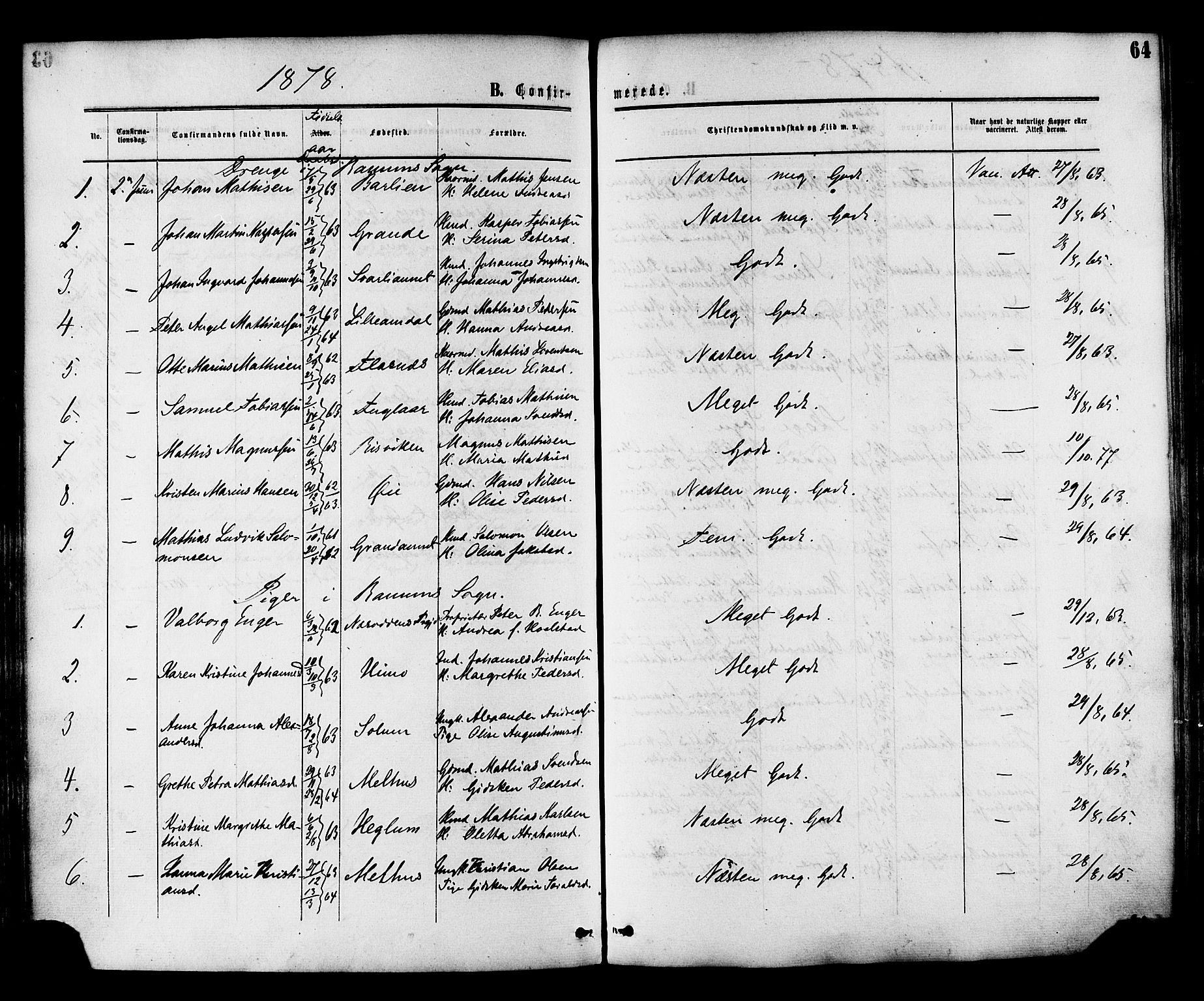 SAT, Ministerialprotokoller, klokkerbøker og fødselsregistre - Nord-Trøndelag, 764/L0553: Ministerialbok nr. 764A08, 1858-1880, s. 64