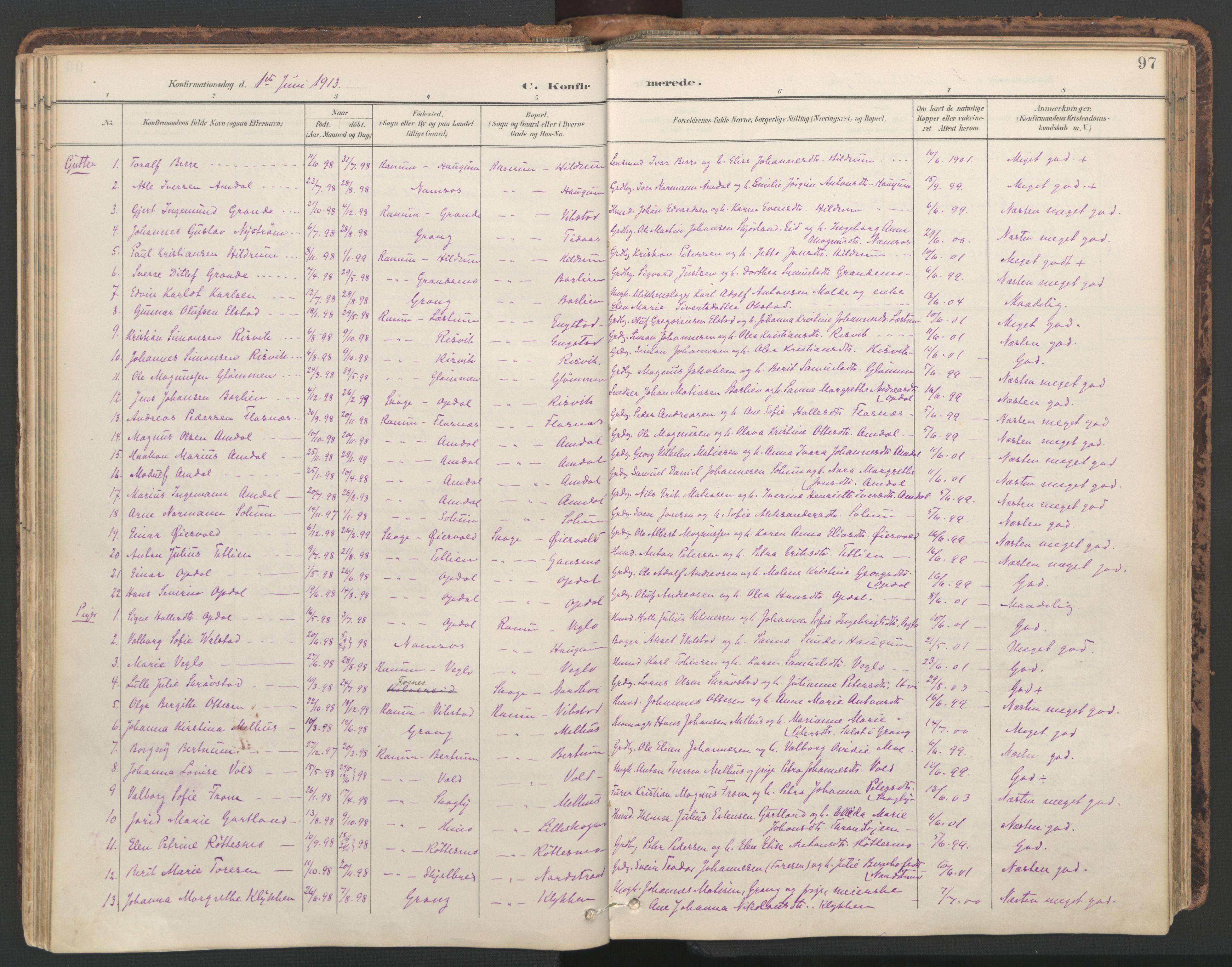 SAT, Ministerialprotokoller, klokkerbøker og fødselsregistre - Nord-Trøndelag, 764/L0556: Ministerialbok nr. 764A11, 1897-1924, s. 97