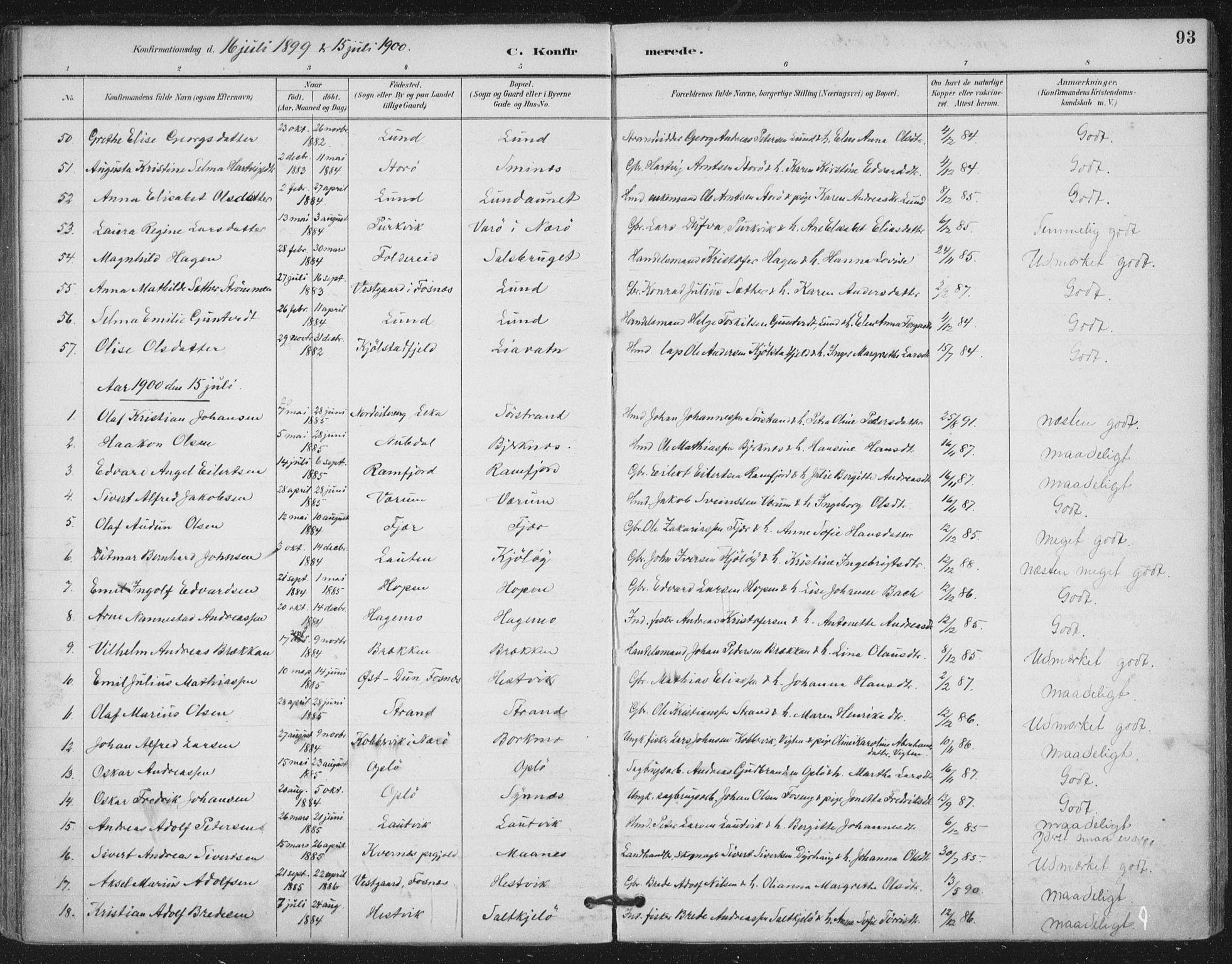 SAT, Ministerialprotokoller, klokkerbøker og fødselsregistre - Nord-Trøndelag, 780/L0644: Ministerialbok nr. 780A08, 1886-1903, s. 93