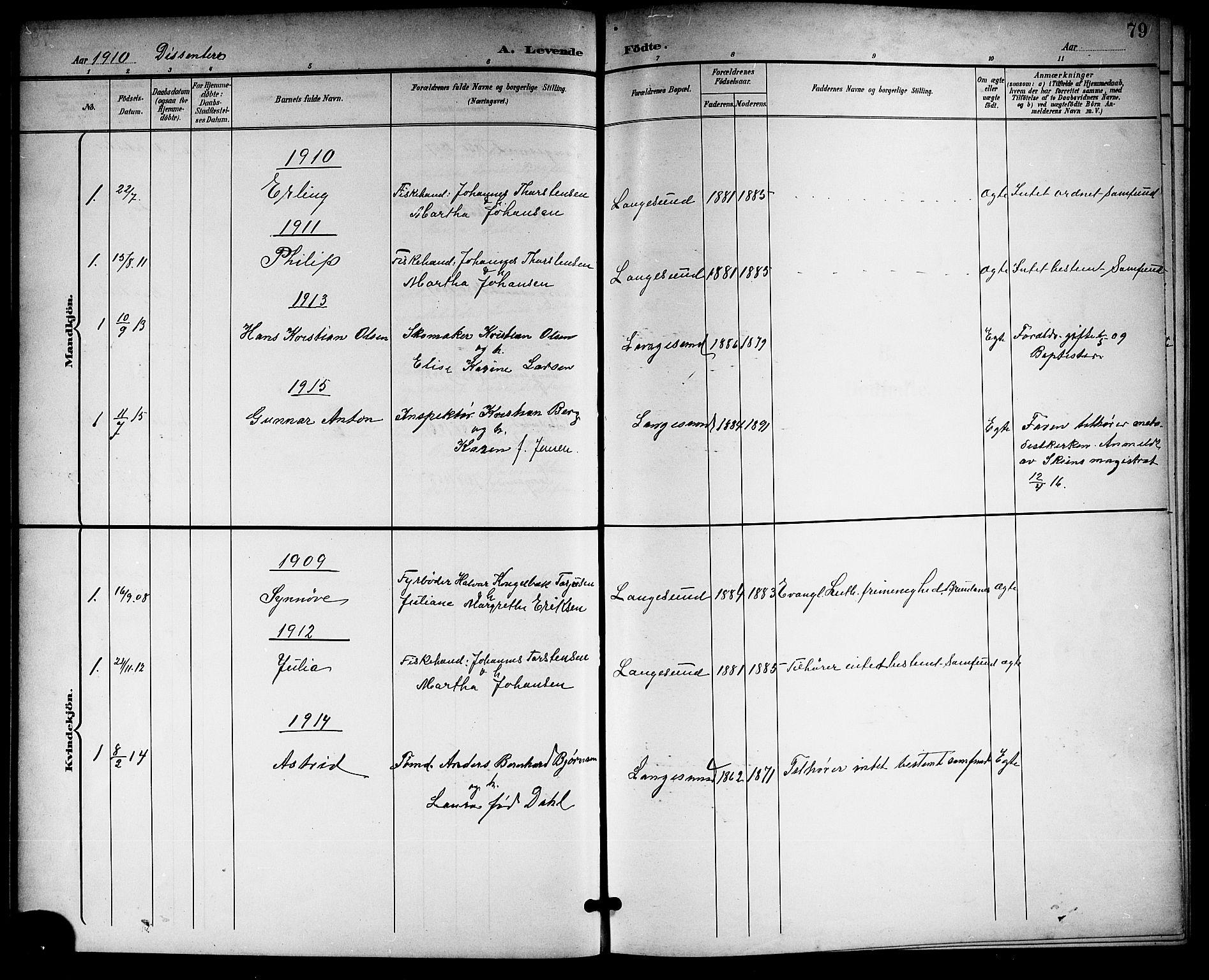 SAKO, Langesund kirkebøker, G/Ga/L0006: Klokkerbok nr. 6, 1899-1918, s. 79