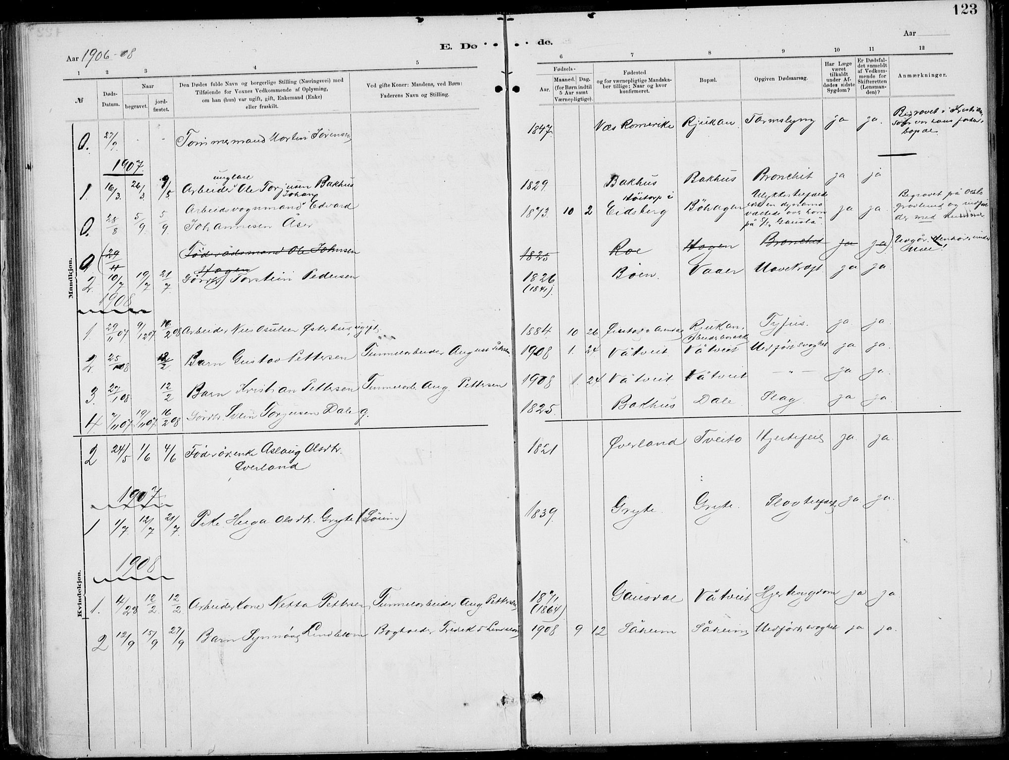 SAKO, Rjukan kirkebøker, F/Fa/L0001: Ministerialbok nr. 1, 1878-1912, s. 123