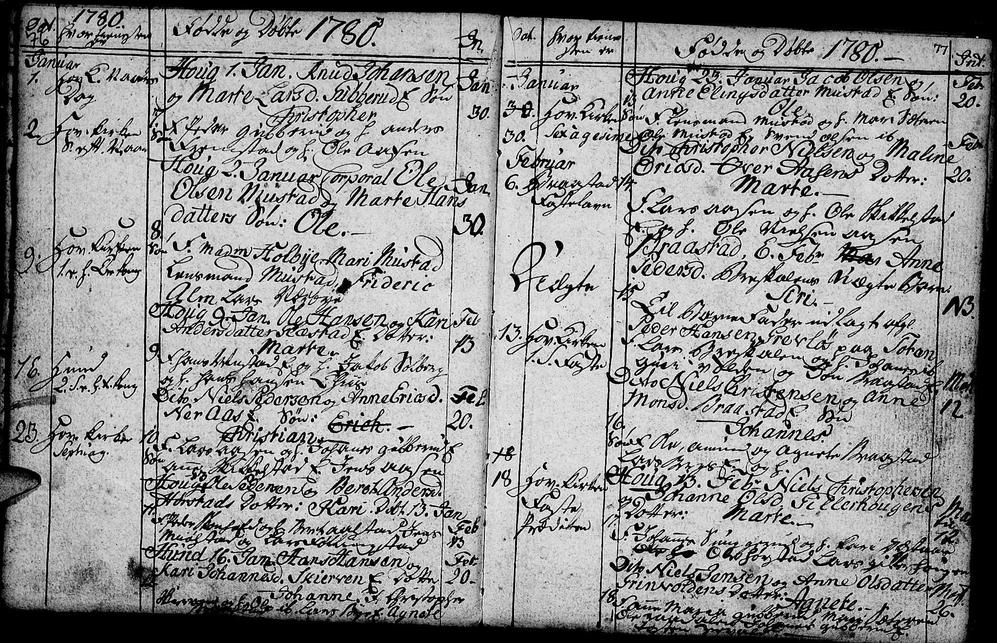 SAH, Vardal prestekontor, H/Ha/Hab/L0001: Klokkerbok nr. 1, 1771-1790, s. 76-77