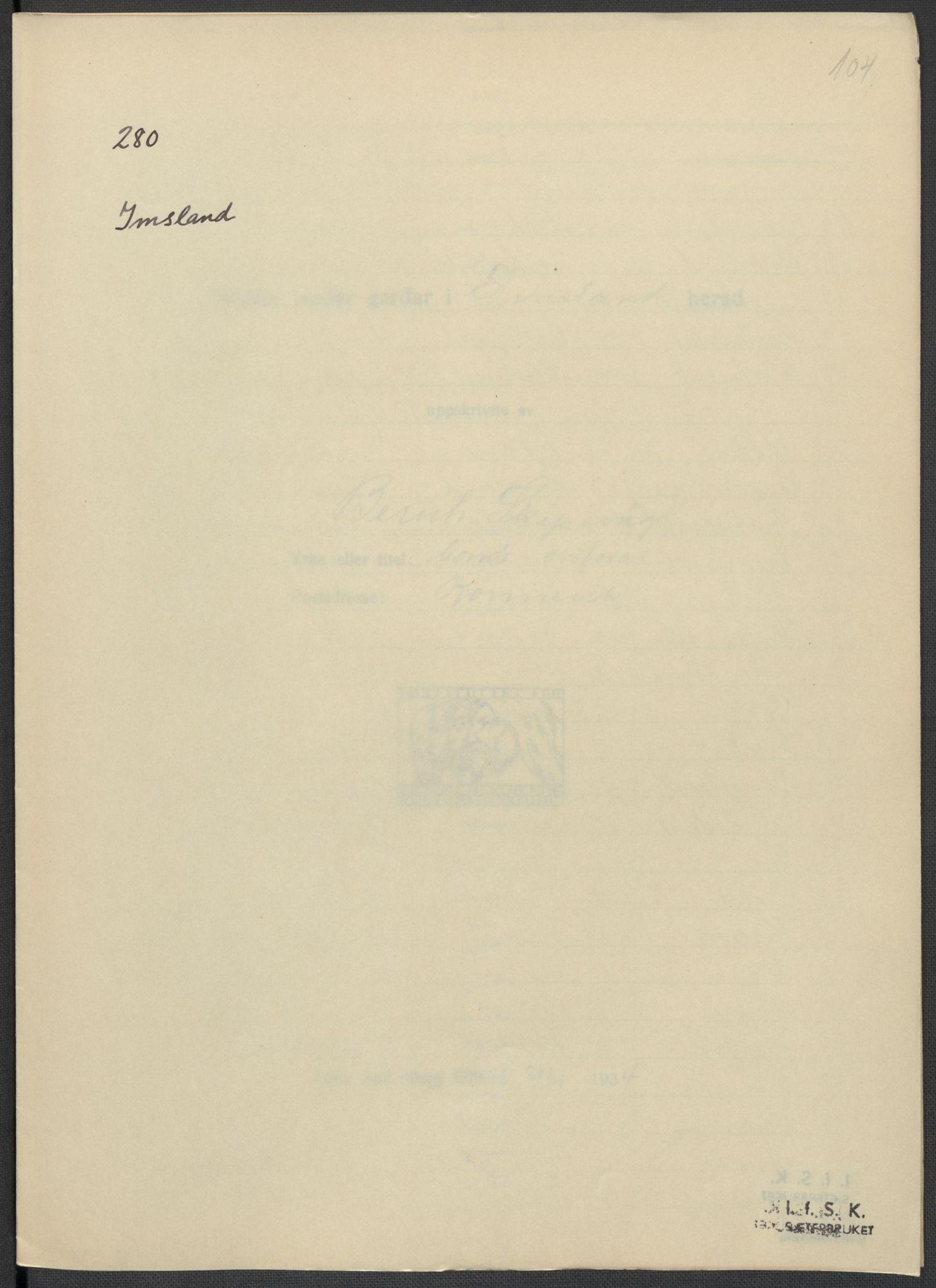 RA, Instituttet for sammenlignende kulturforskning, F/Fc/L0009: Eske B9:, 1932-1935, s. 104