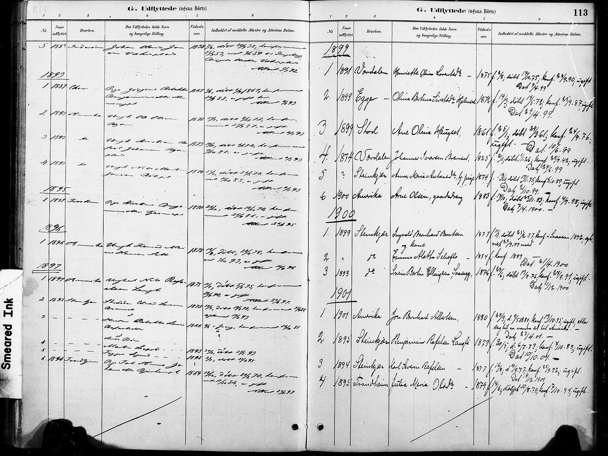 SAT, Ministerialprotokoller, klokkerbøker og fødselsregistre - Nord-Trøndelag, 738/L0364: Ministerialbok nr. 738A01, 1884-1902, s. 113