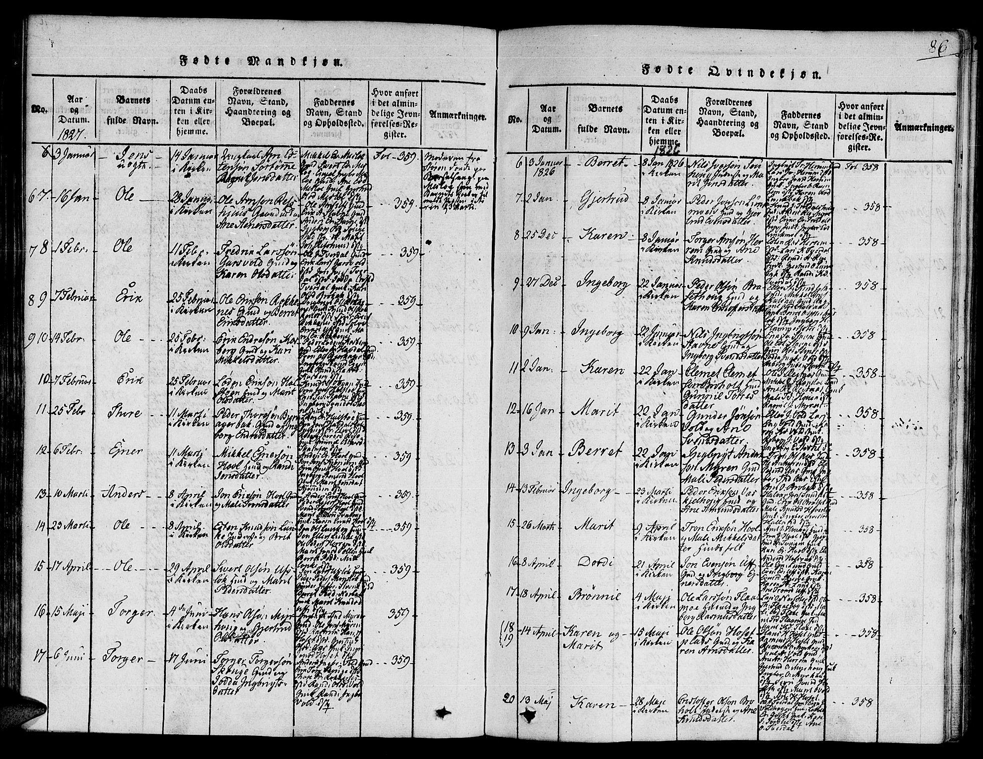 SAT, Ministerialprotokoller, klokkerbøker og fødselsregistre - Sør-Trøndelag, 672/L0854: Ministerialbok nr. 672A06 /2, 1816-1829, s. 86