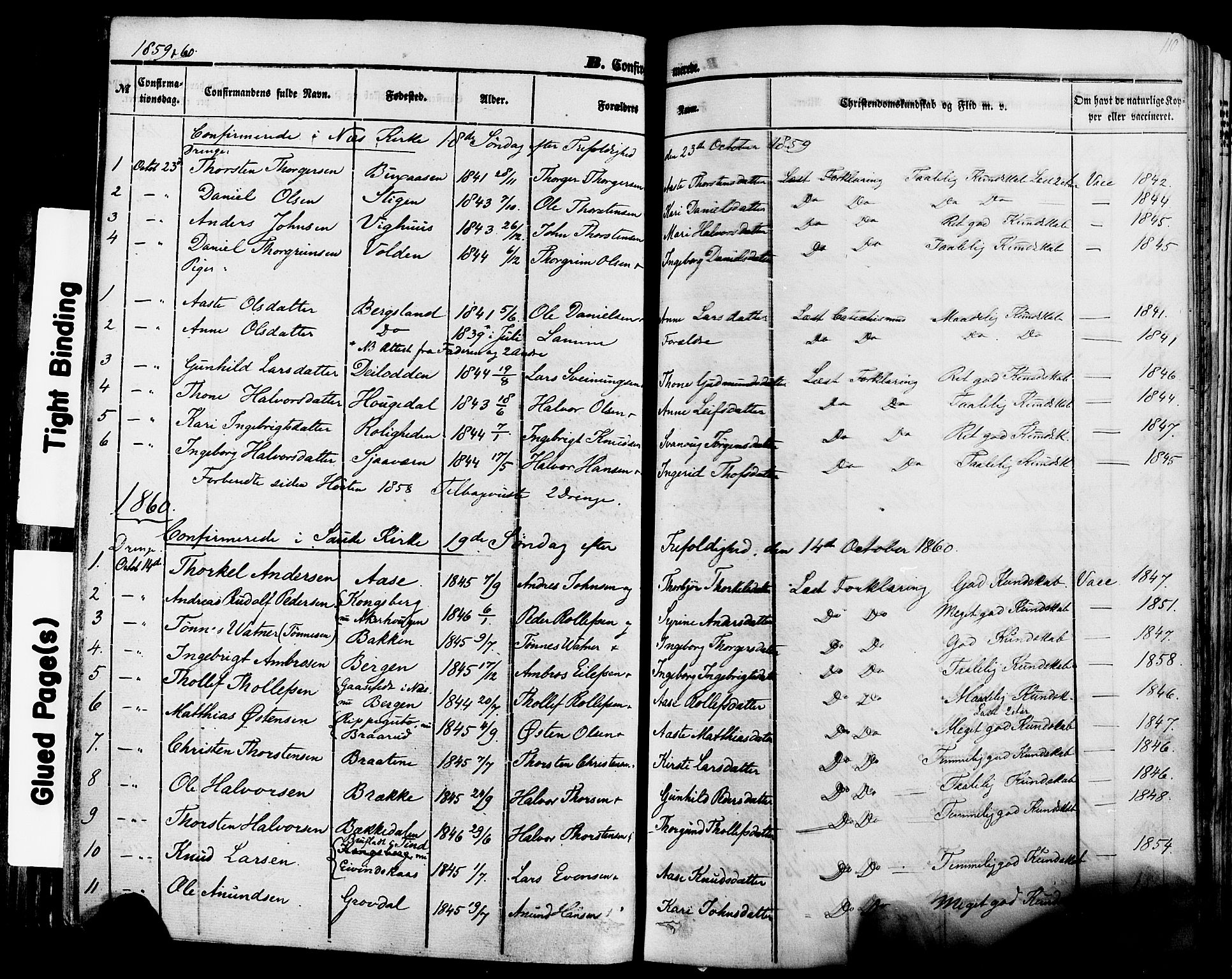 SAKO, Sauherad kirkebøker, F/Fa/L0007: Ministerialbok nr. I 7, 1851-1873, s. 110