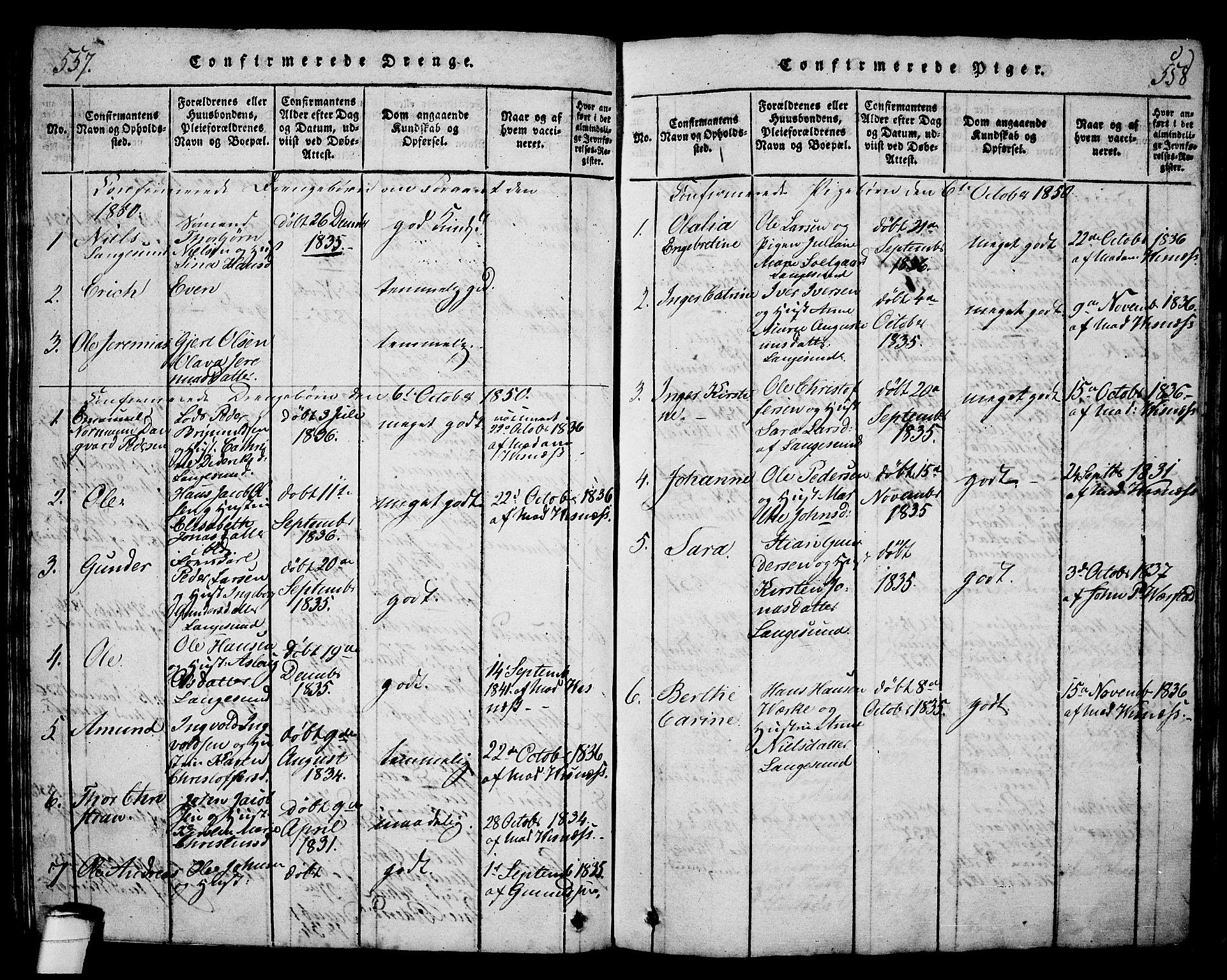 SAKO, Langesund kirkebøker, G/Ga/L0003: Klokkerbok nr. 3, 1815-1858, s. 557-558
