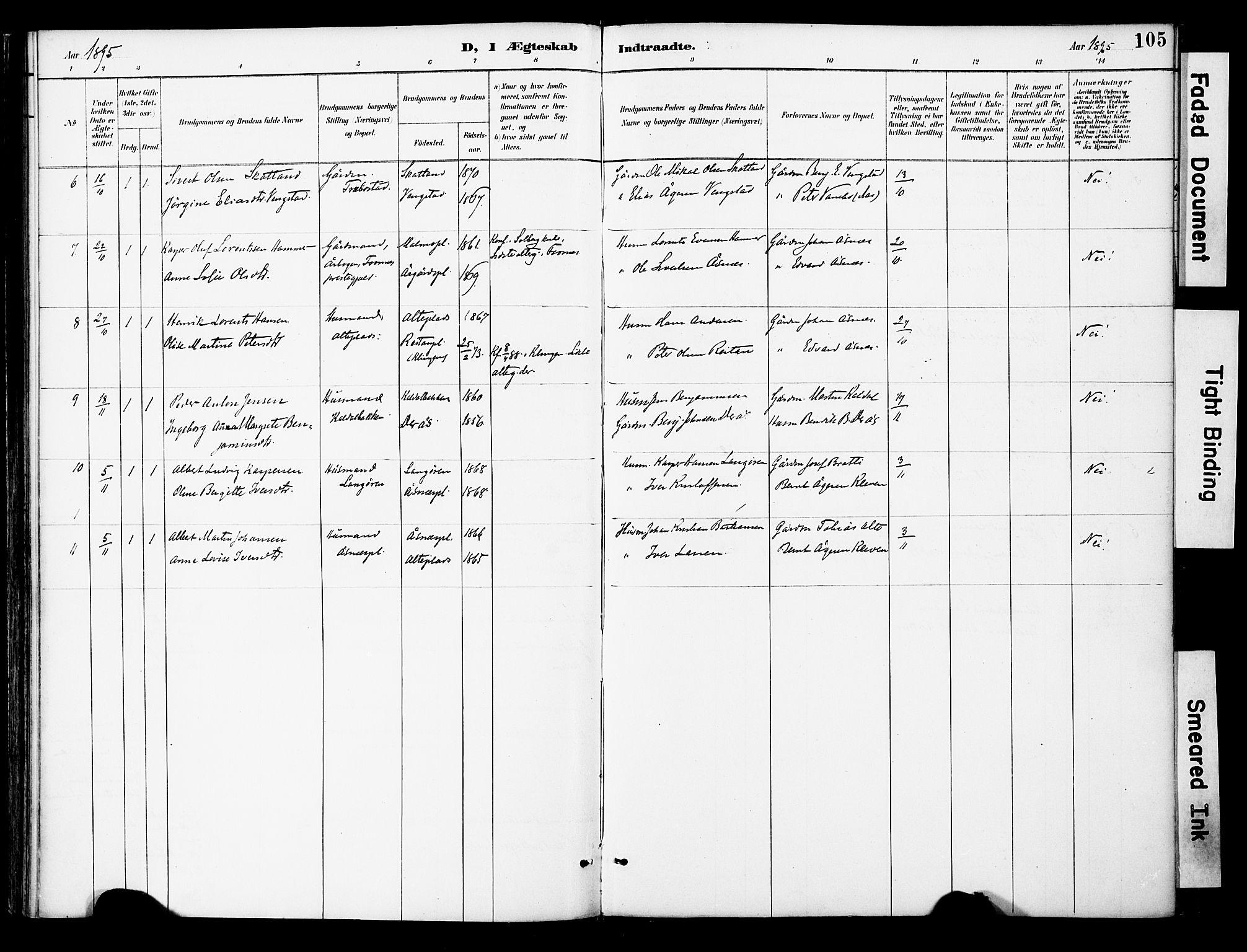 SAT, Ministerialprotokoller, klokkerbøker og fødselsregistre - Nord-Trøndelag, 742/L0409: Ministerialbok nr. 742A02, 1891-1905, s. 105