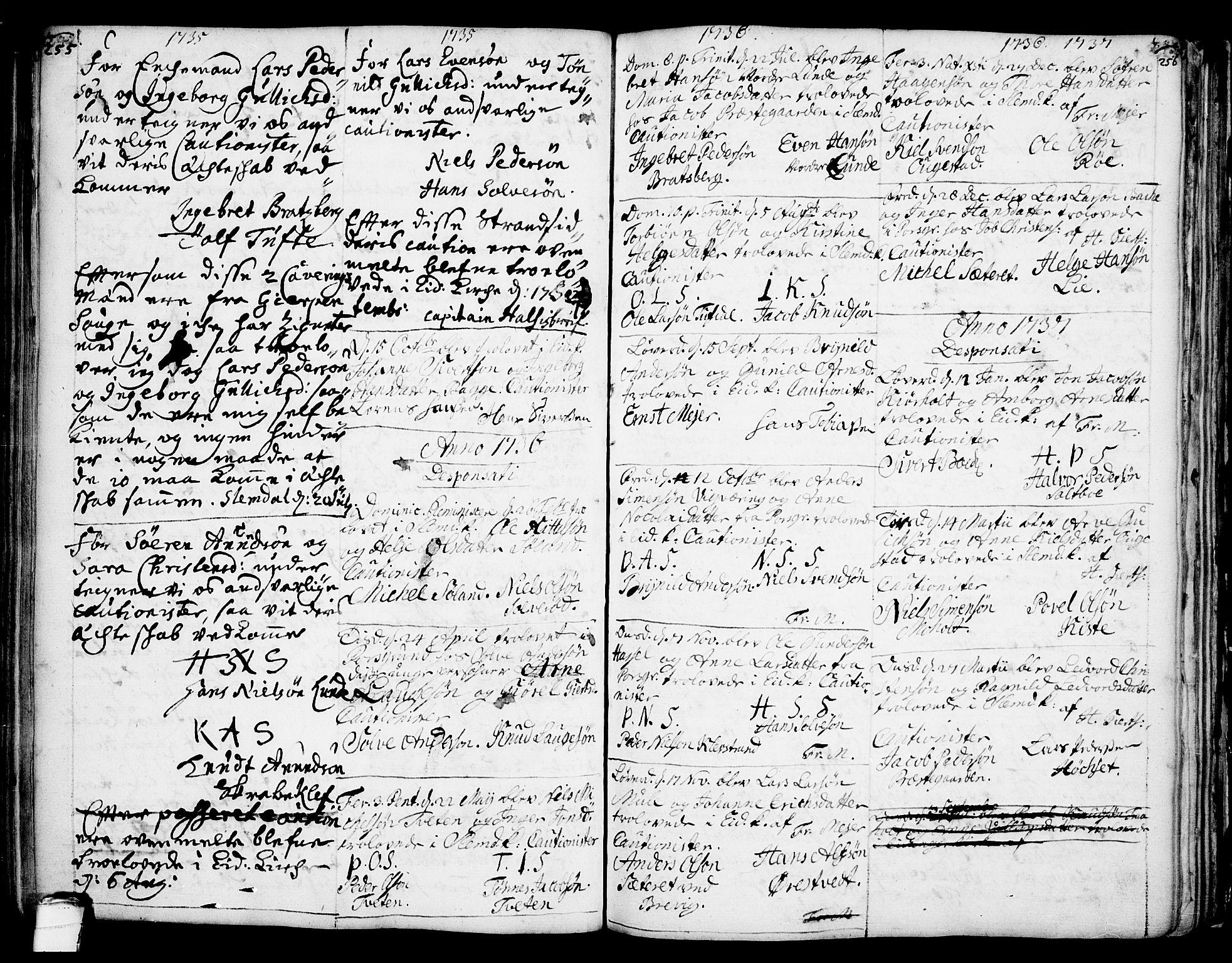 SAKO, Eidanger kirkebøker, F/Fa/L0004: Ministerialbok nr. 4, 1733-1759, s. 255-256