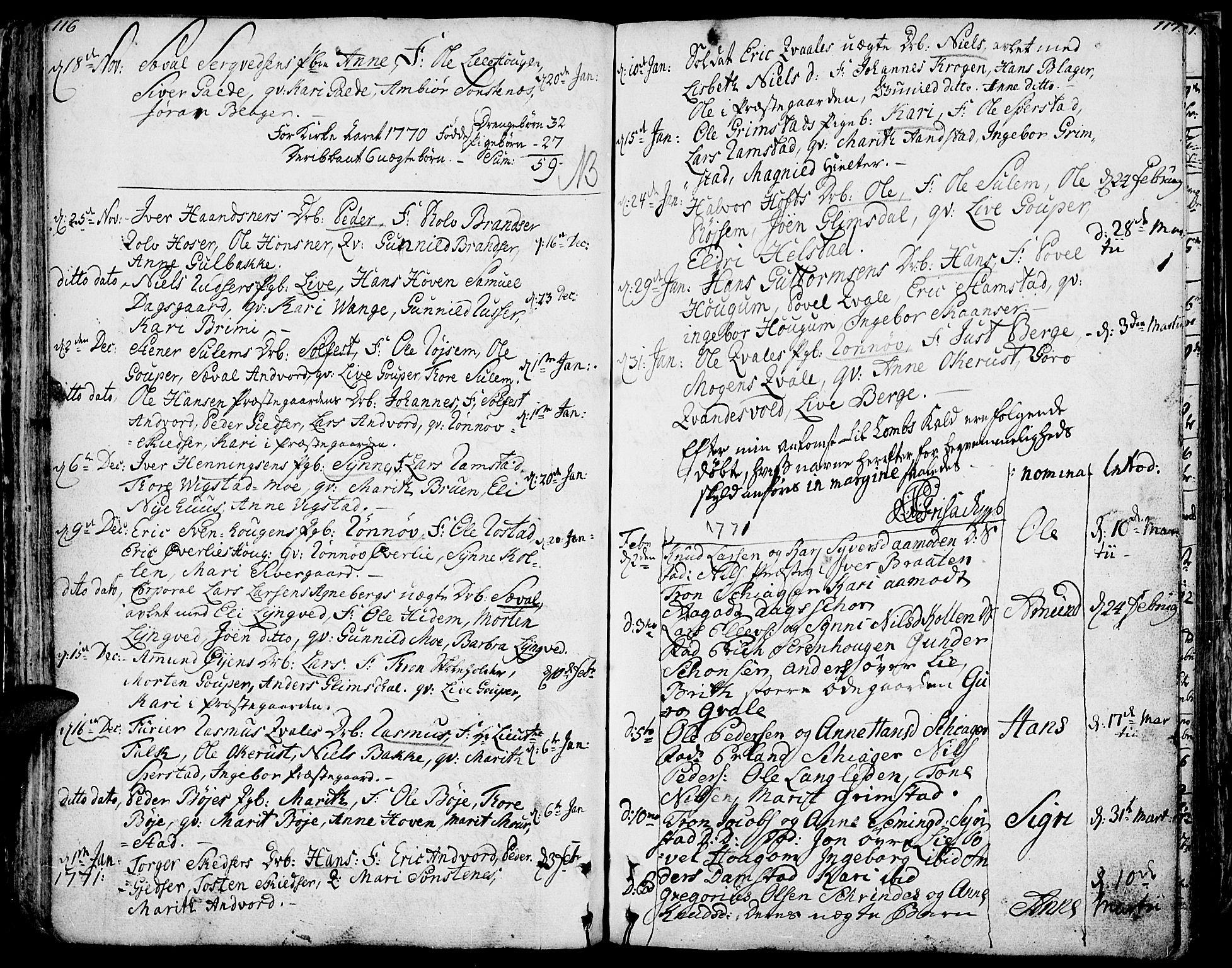SAH, Lom prestekontor, K/L0002: Ministerialbok nr. 2, 1749-1801, s. 116-117