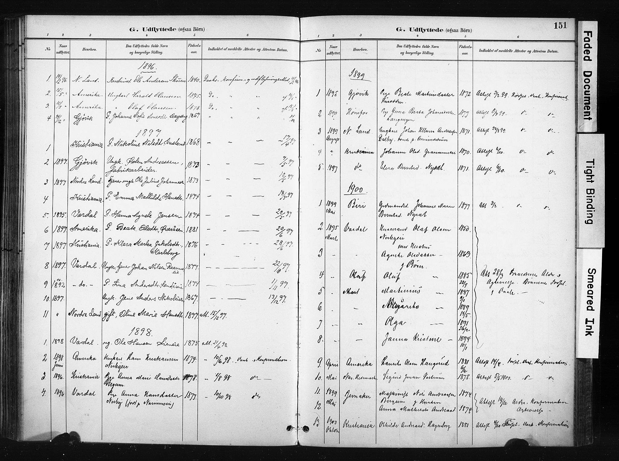 SAH, Søndre Land prestekontor, K/L0004: Ministerialbok nr. 4, 1895-1904, s. 151
