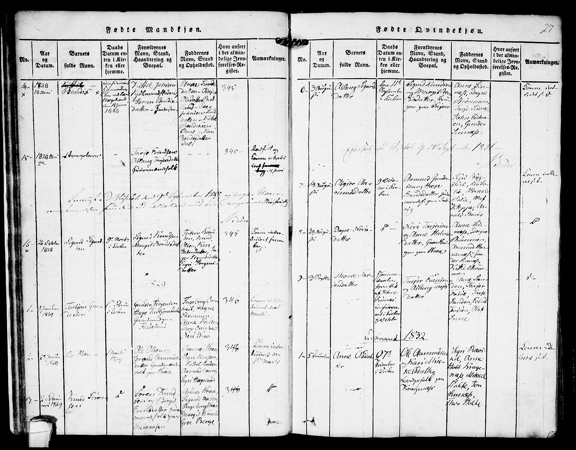 SAKO, Kviteseid kirkebøker, F/Fc/L0001: Ministerialbok nr. III 1, 1815-1836, s. 27
