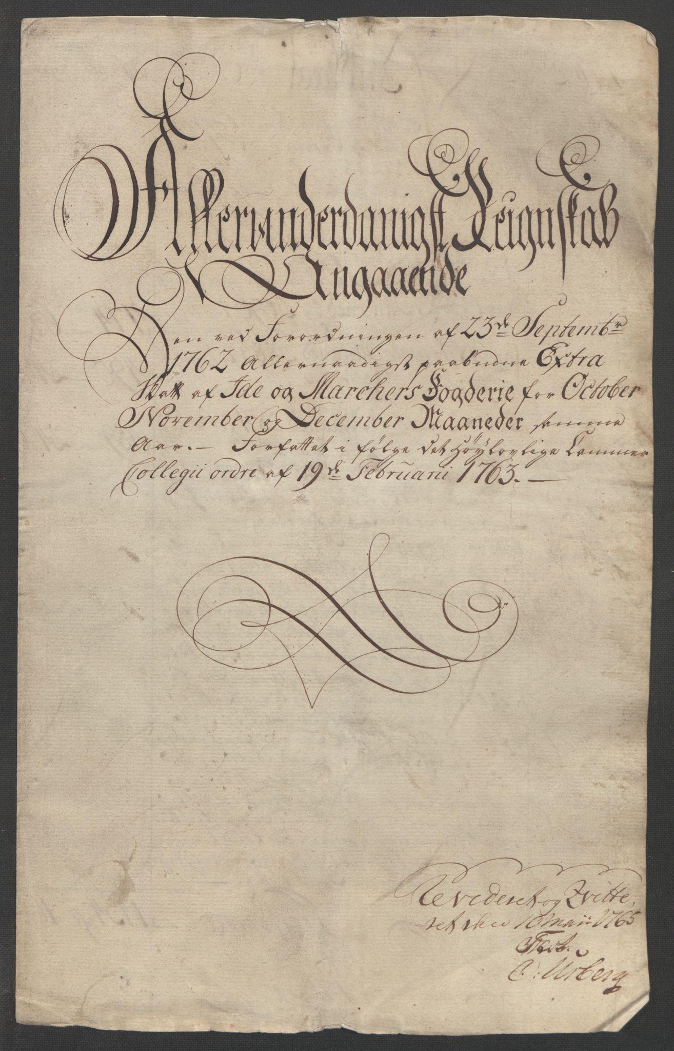RA, Rentekammeret inntil 1814, Reviderte regnskaper, Fogderegnskap, R01/L0097: Ekstraskatten Idd og Marker, 1756-1767, s. 5