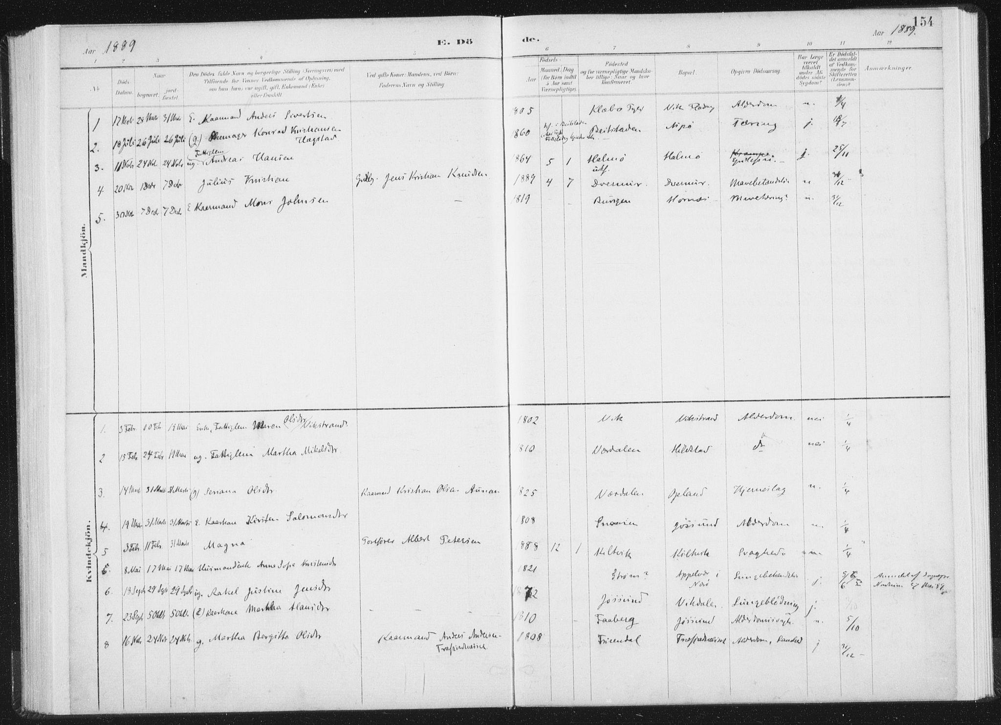 SAT, Ministerialprotokoller, klokkerbøker og fødselsregistre - Nord-Trøndelag, 771/L0597: Ministerialbok nr. 771A04, 1885-1910, s. 154