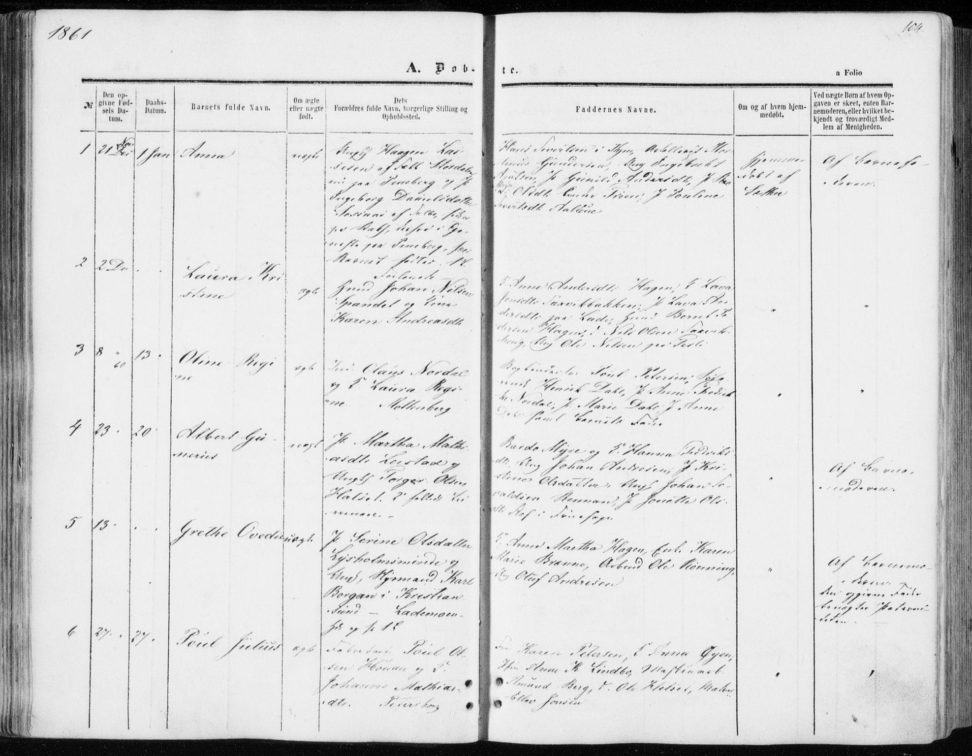SAT, Ministerialprotokoller, klokkerbøker og fødselsregistre - Sør-Trøndelag, 606/L0292: Ministerialbok nr. 606A07, 1856-1865, s. 104