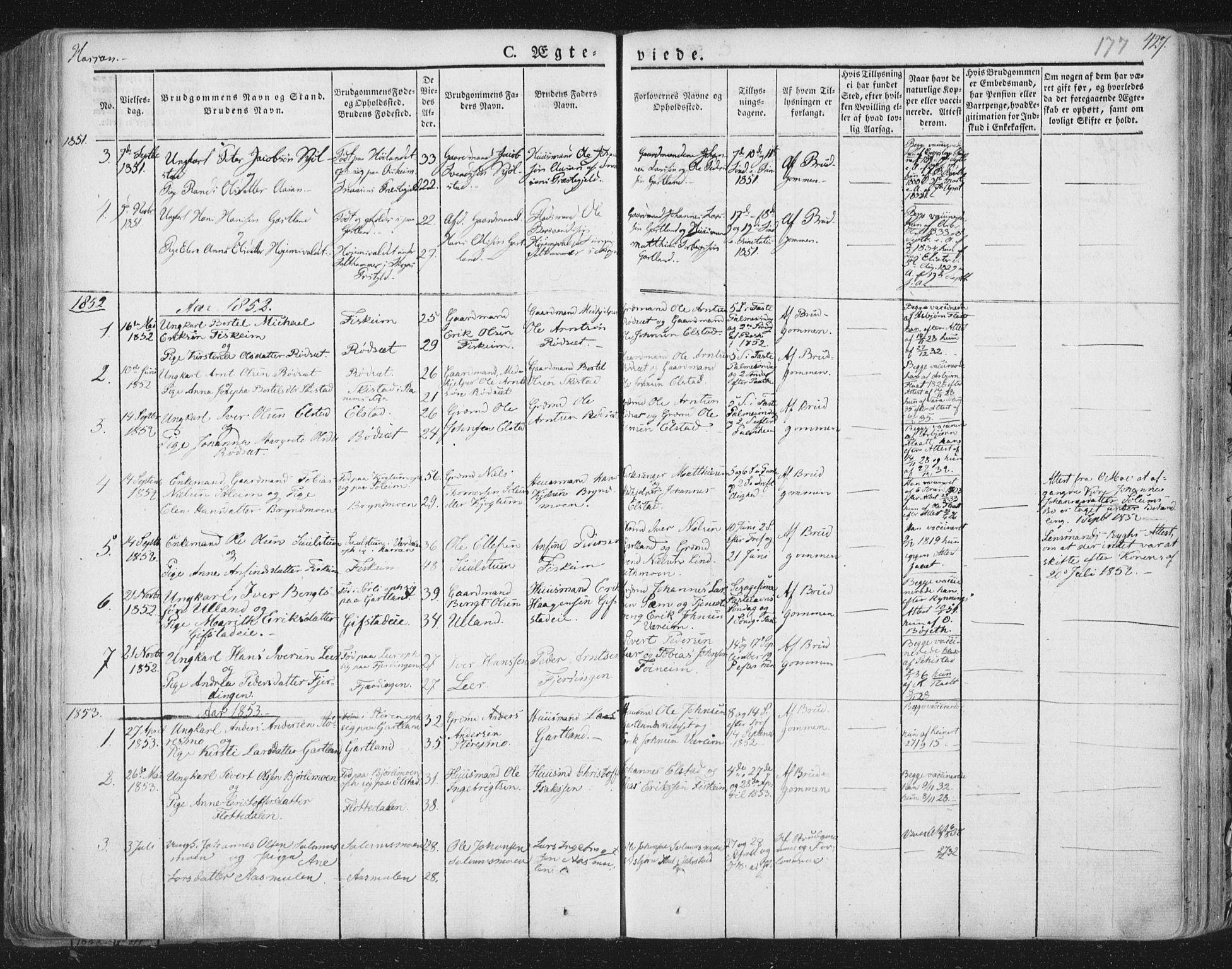 SAT, Ministerialprotokoller, klokkerbøker og fødselsregistre - Nord-Trøndelag, 758/L0513: Ministerialbok nr. 758A02 /3, 1839-1868, s. 177