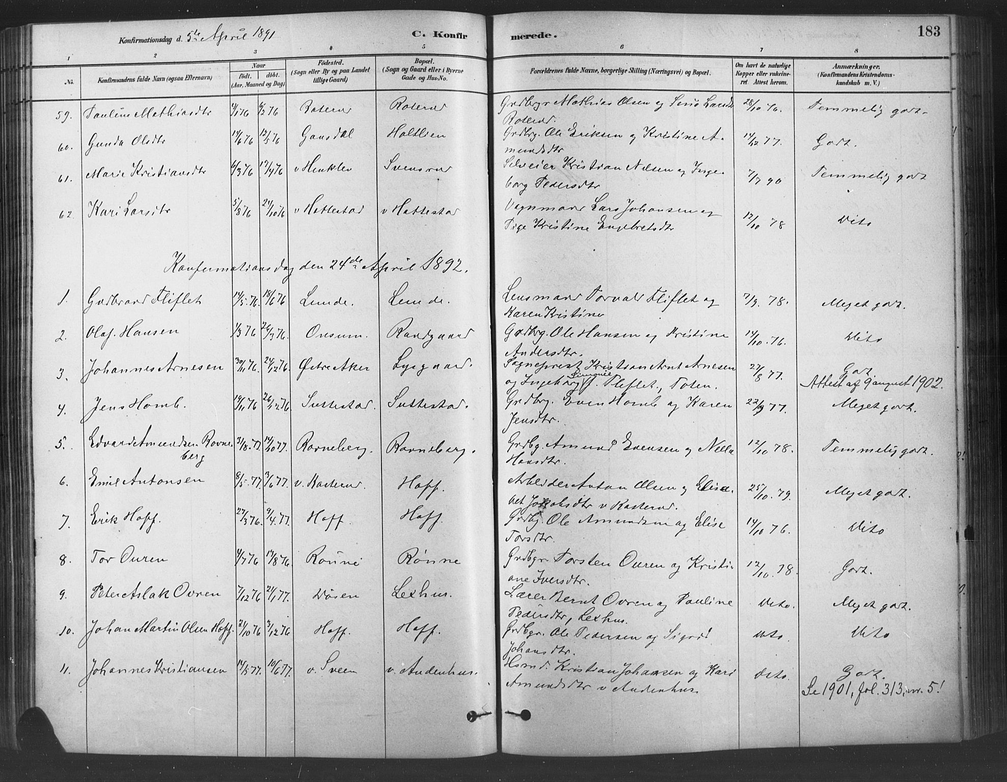 SAH, Fåberg prestekontor, Ministerialbok nr. 9, 1879-1898, s. 183
