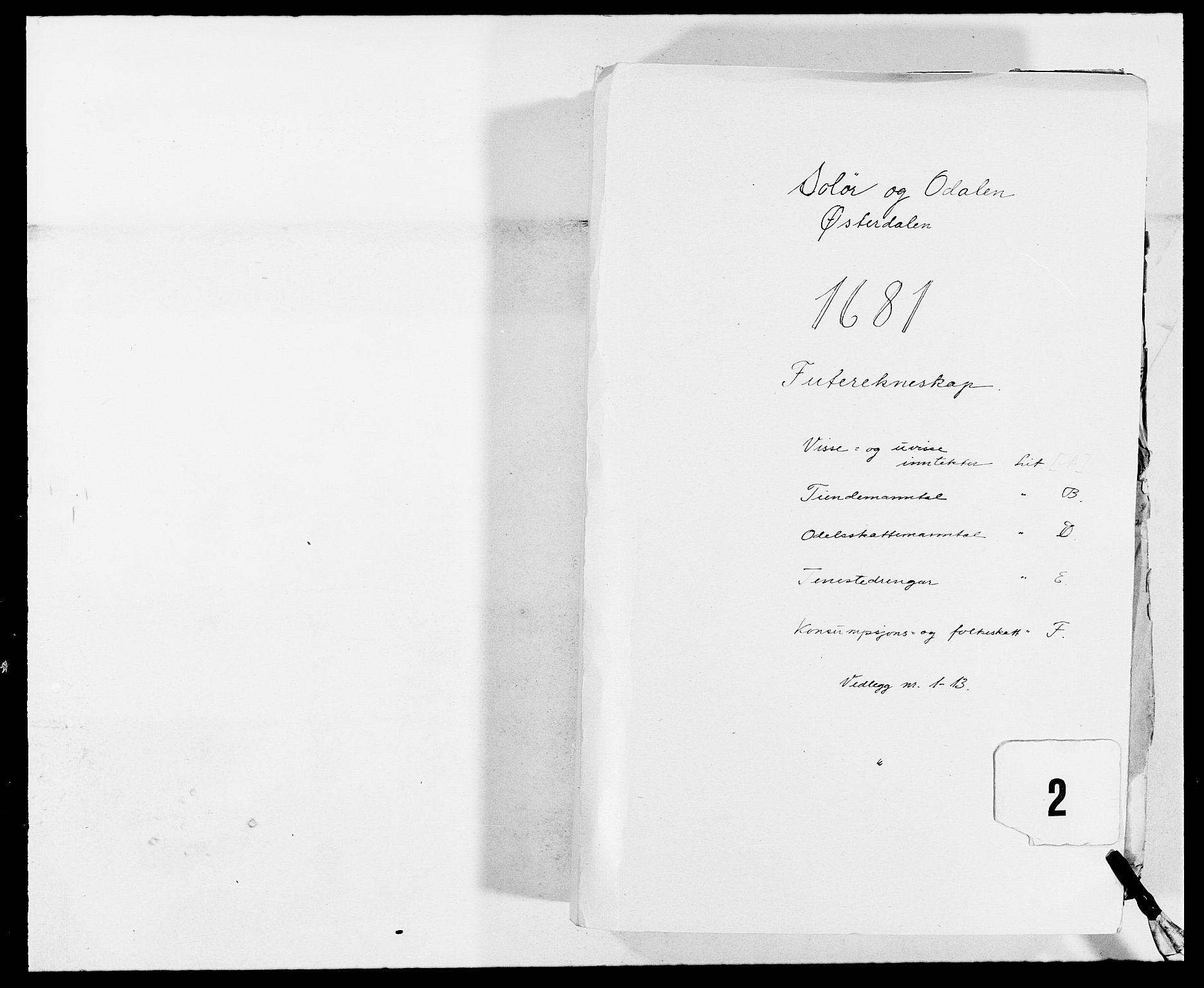 RA, Rentekammeret inntil 1814, Reviderte regnskaper, Fogderegnskap, R13/L0818: Fogderegnskap Solør, Odal og Østerdal, 1681, s. 1