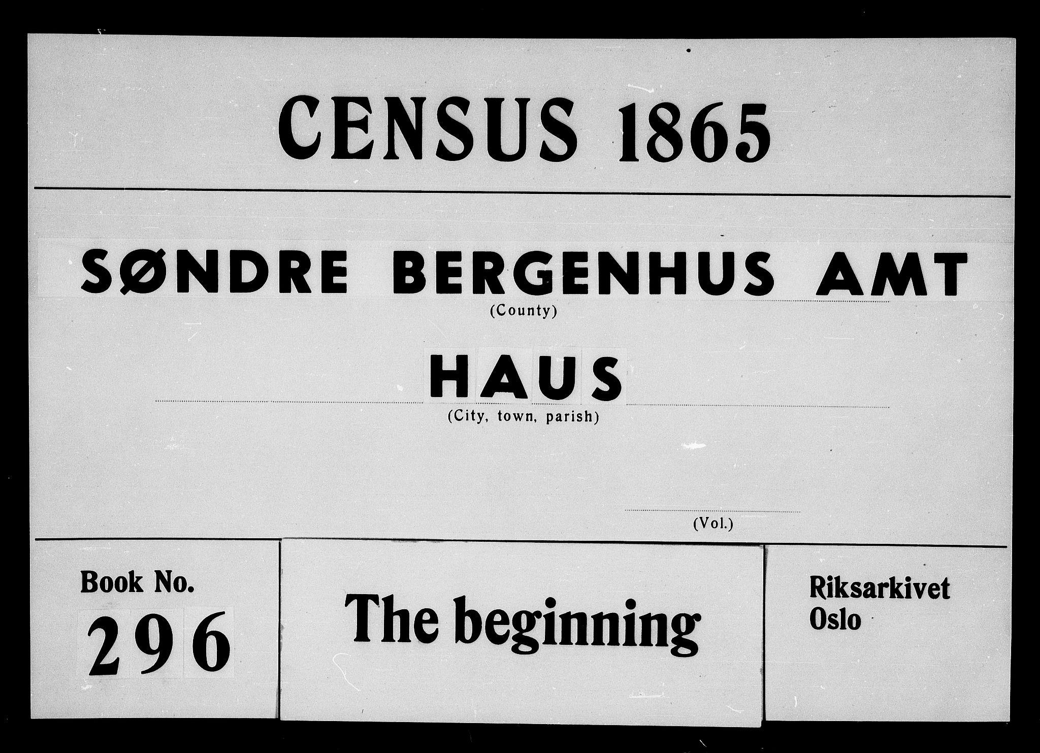 RA, Folketelling 1865 for 1250P Haus prestegjeld, 1865, s. 1